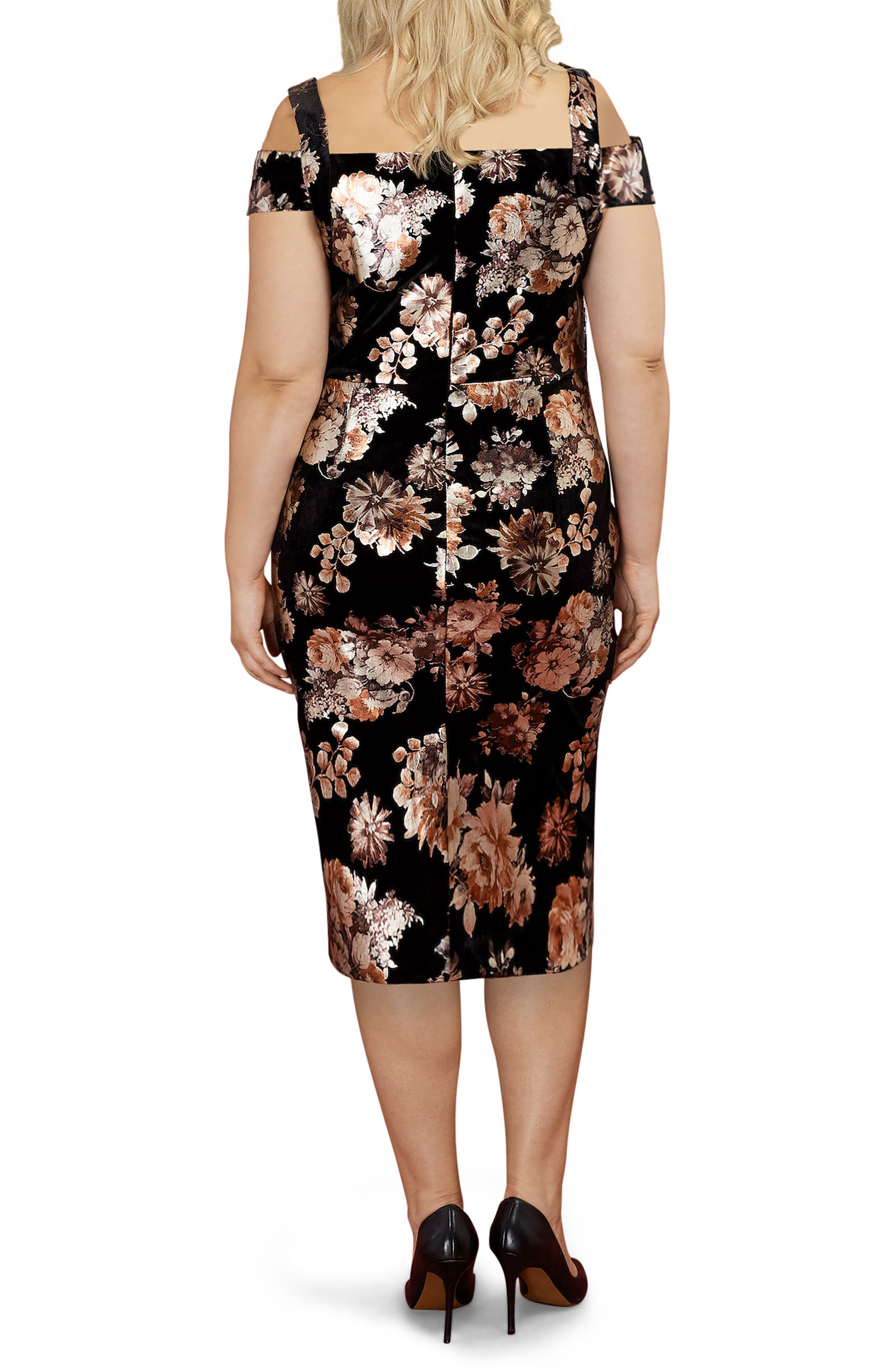 Cold Shoulder Foil Print Velvet Midi Dress,                             Alternate thumbnail 2, color,                             Black/ Rust