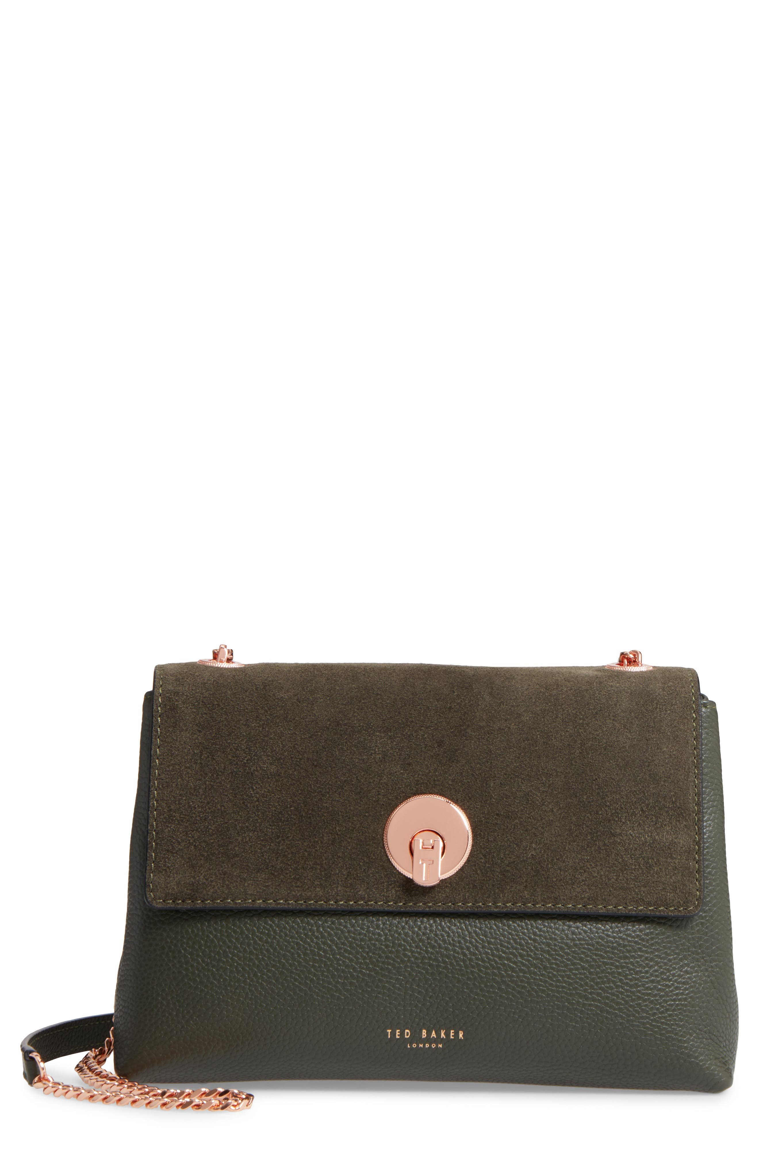 Sorikai Leather & Suede Crossbody Bag,                         Main,                         color, Khaki