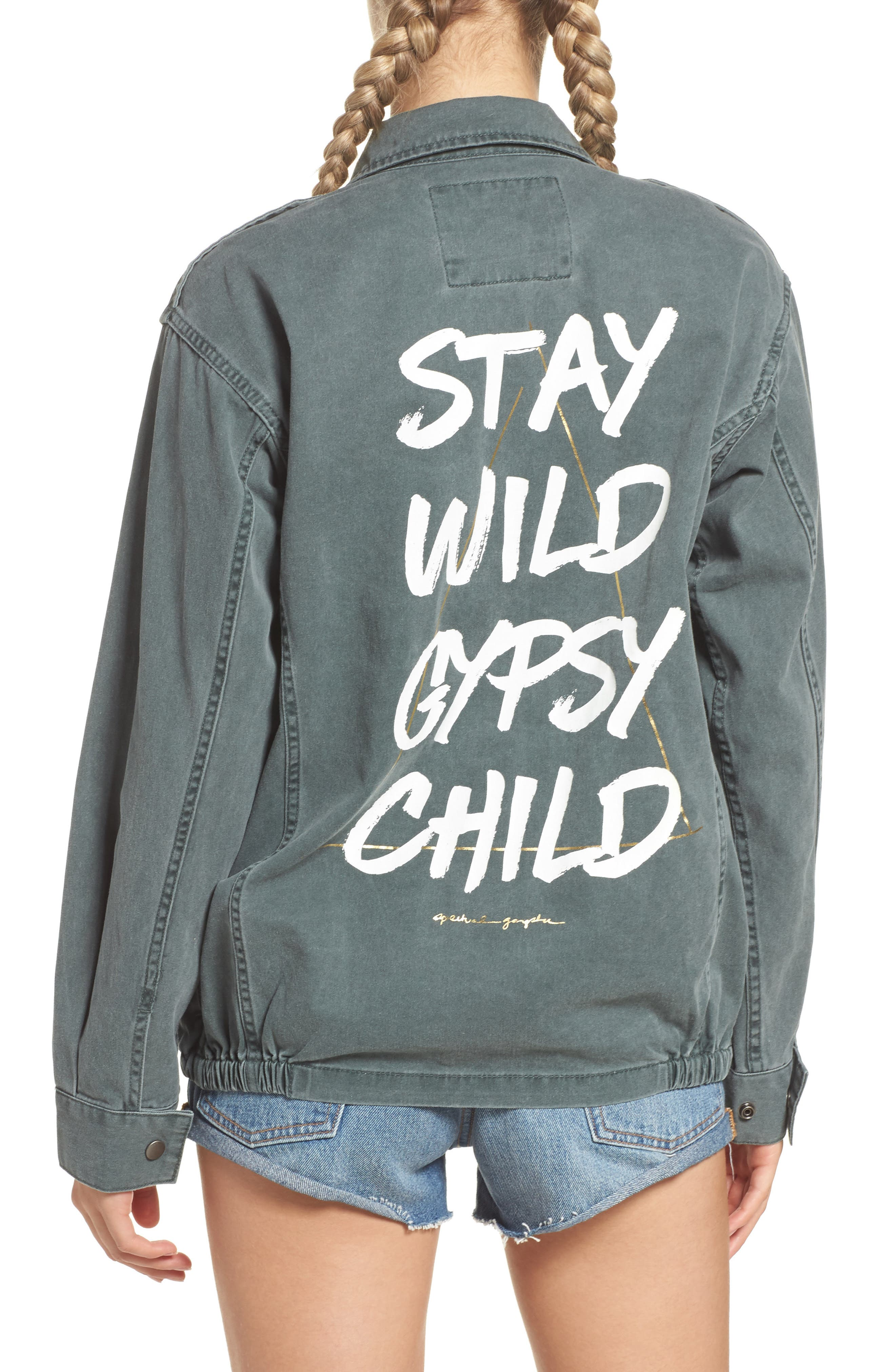 Stay Wild Gypsy Child Amy Jacket,                             Alternate thumbnail 2, color,                             Army