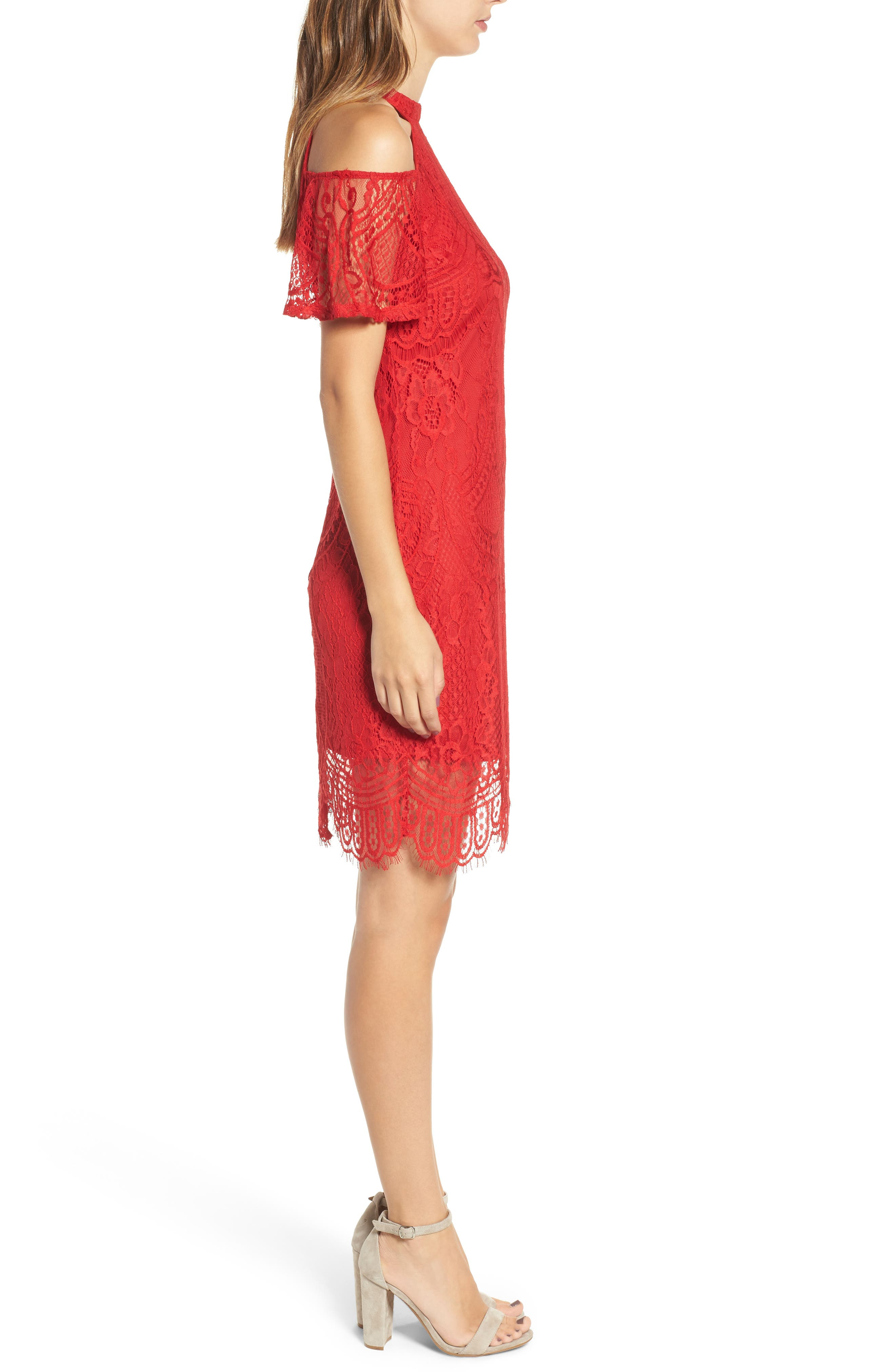 Lace Cold Shoulder Dress,                             Alternate thumbnail 3, color,                             Holly Red