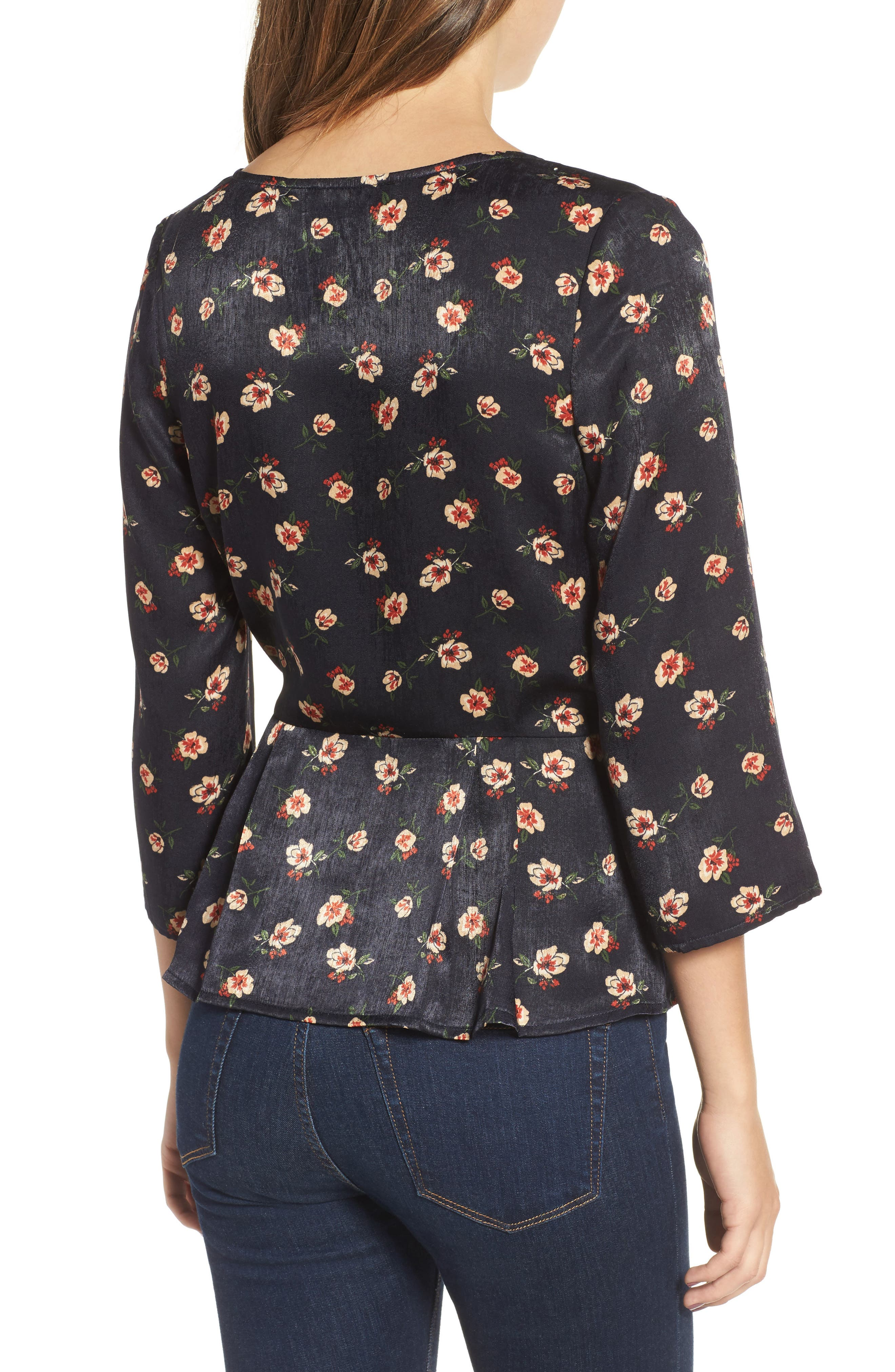 Alternate Image 2  - J.O.A. Floral Wrap Top