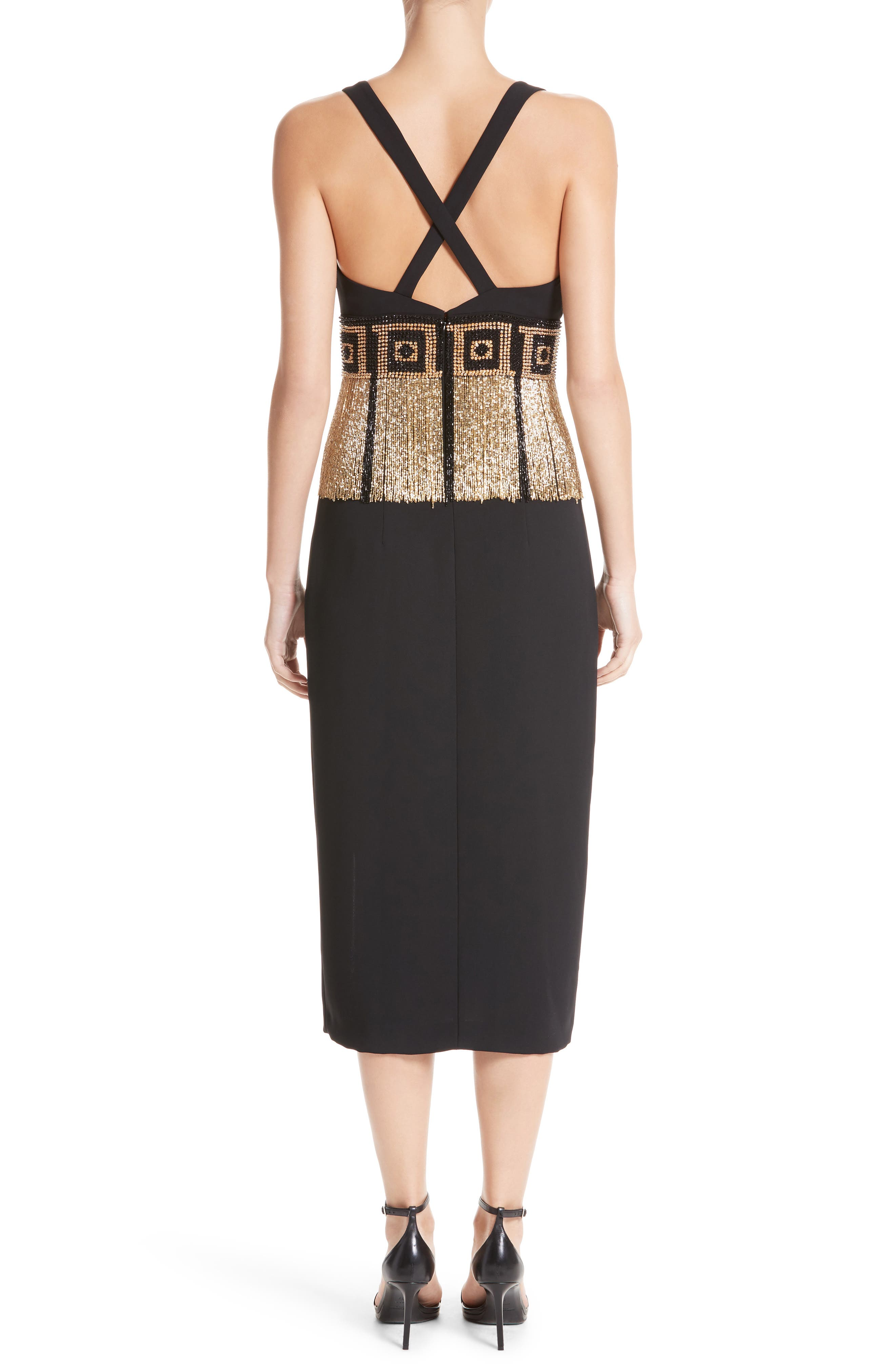 Alternate Image 2  - Versace Collection Beaded Fringe Waist Dress
