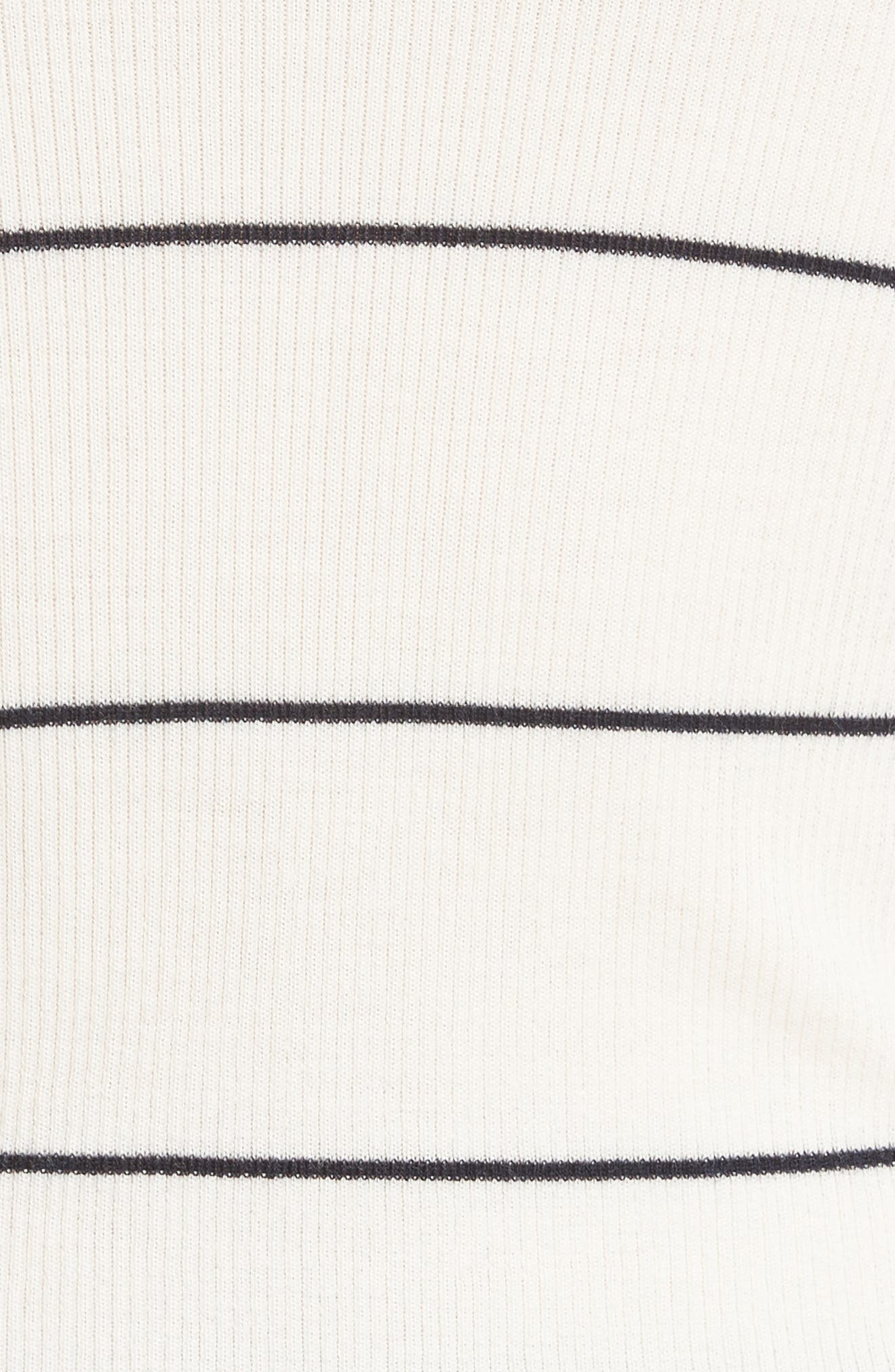Stripe Crop Turtleneck,                             Alternate thumbnail 5, color,                             Ivory/ Deep Navy