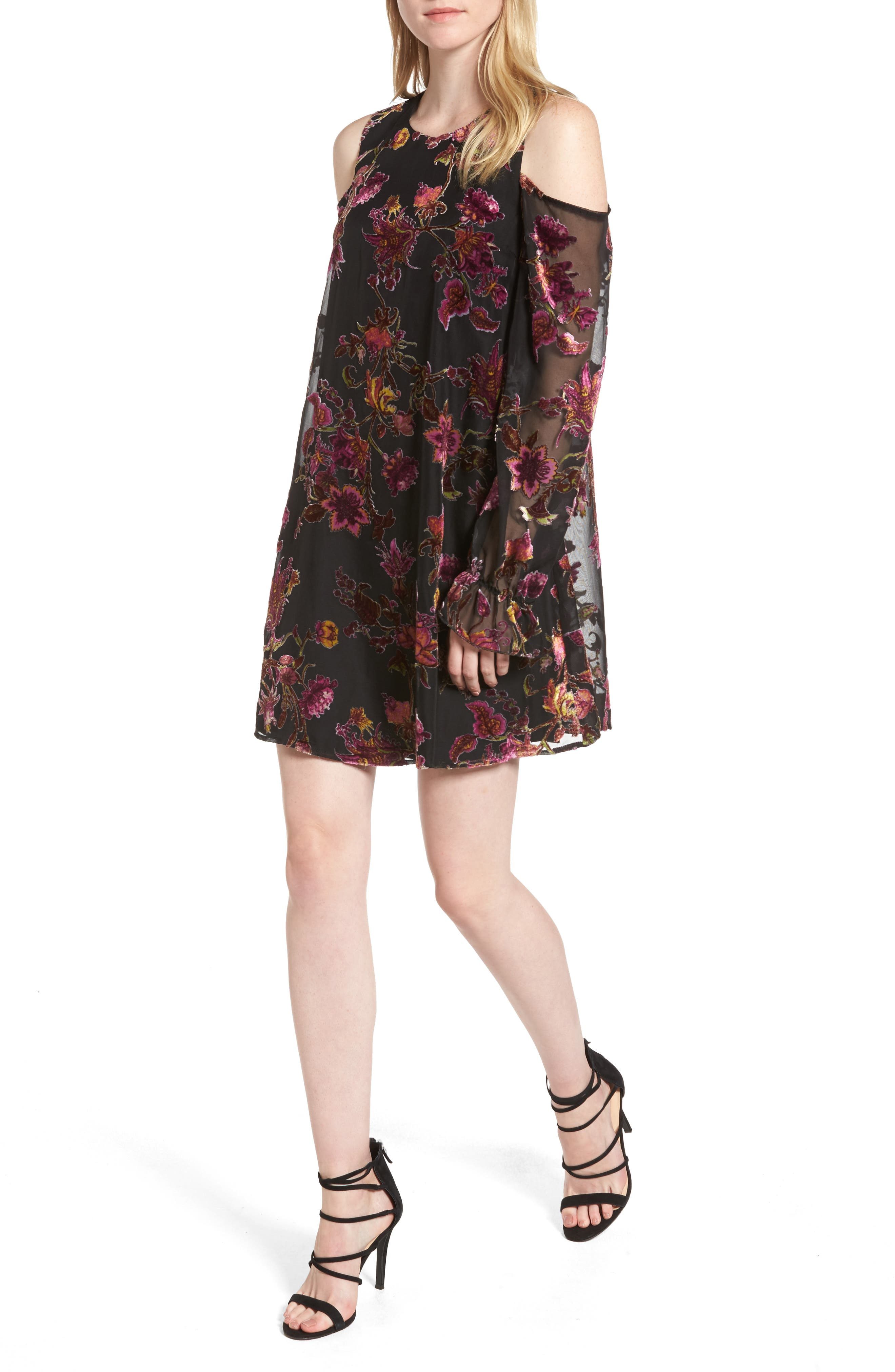 Chelsea28 Cold Shoulder Burnout Velvet Dress