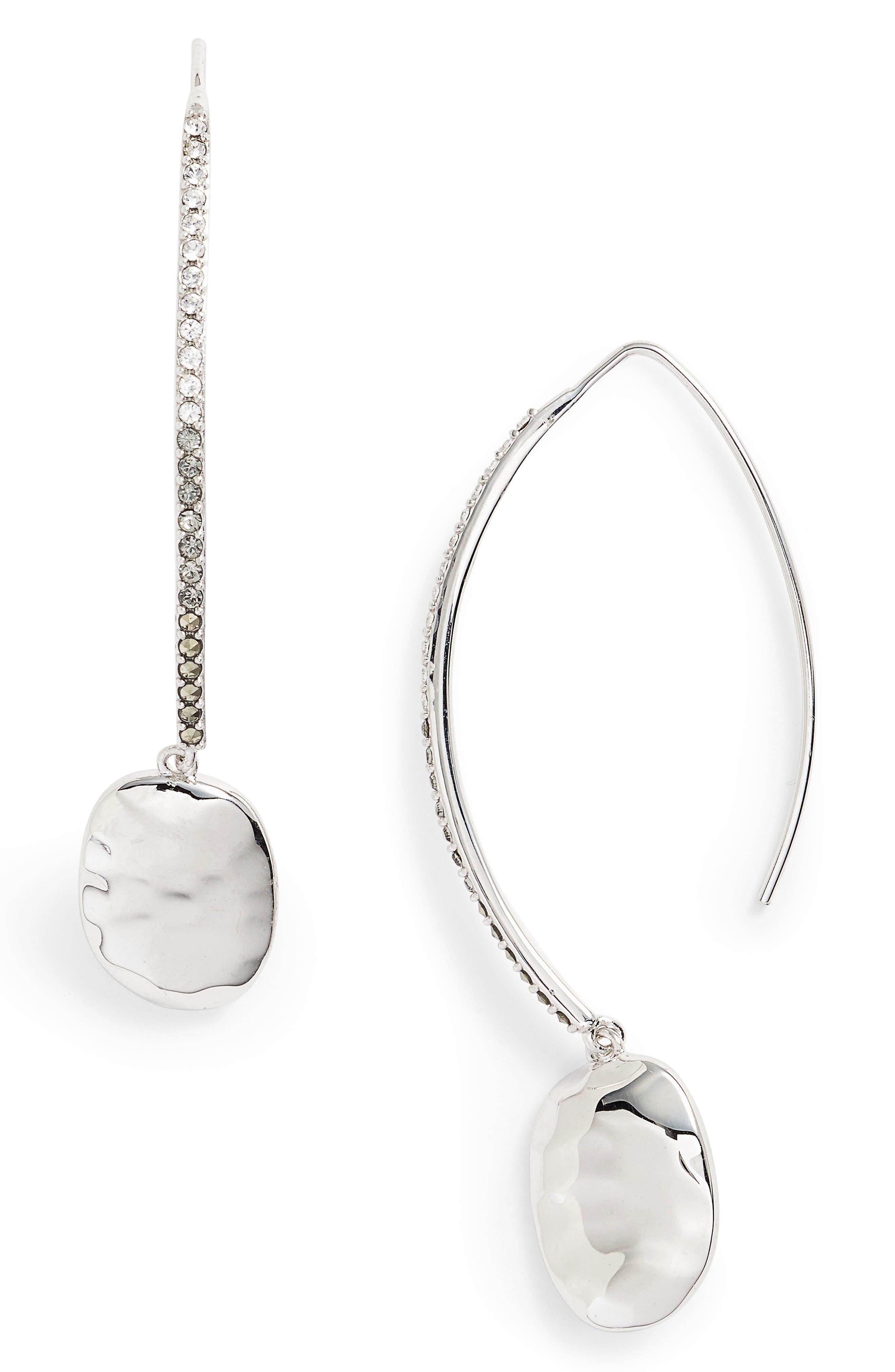 Threader Drop Earrings,                         Main,                         color, Silver