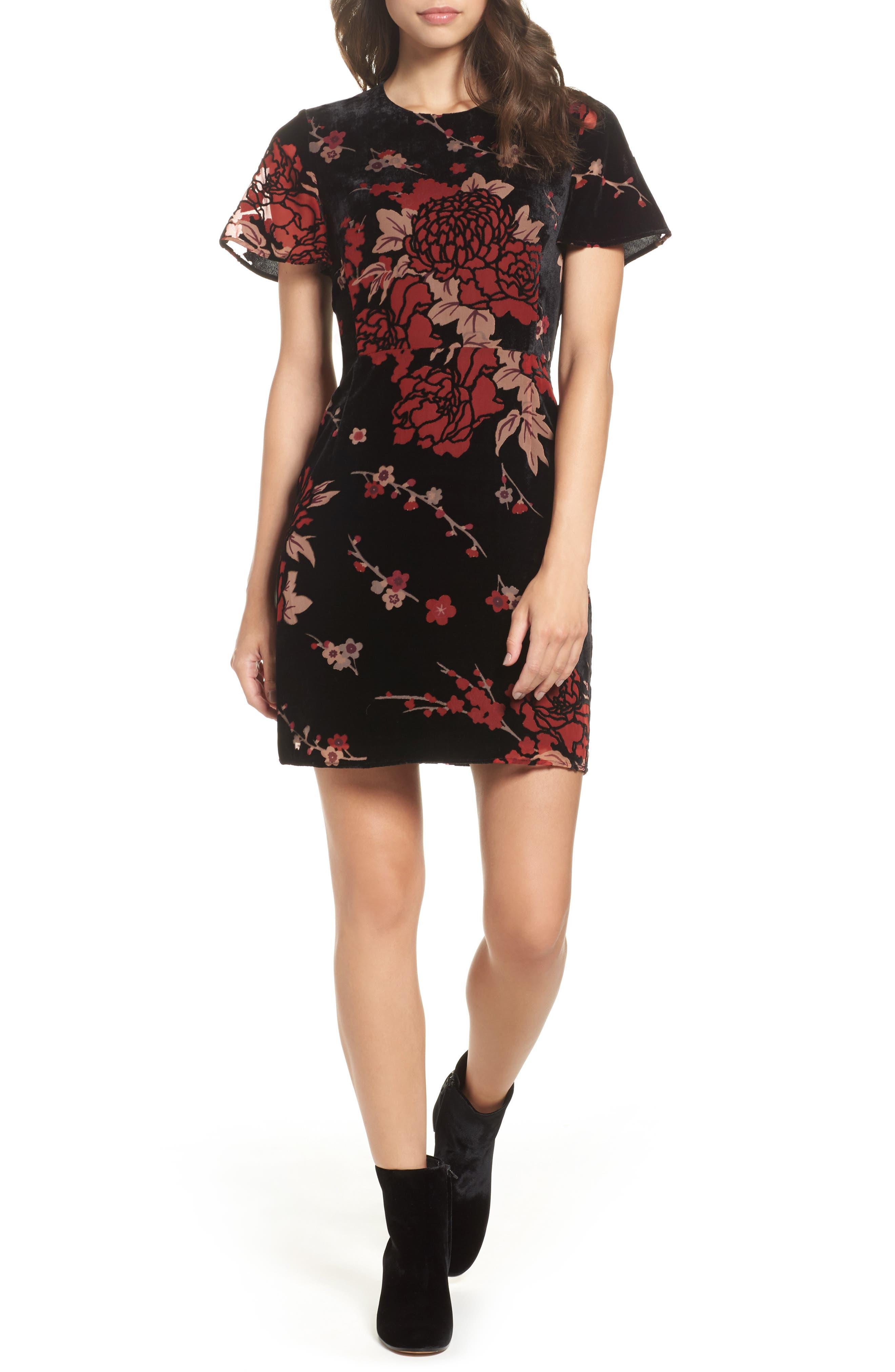 Wilma Devore Burnout Velvet A-Line Dress,                         Main,                         color, Black Multi
