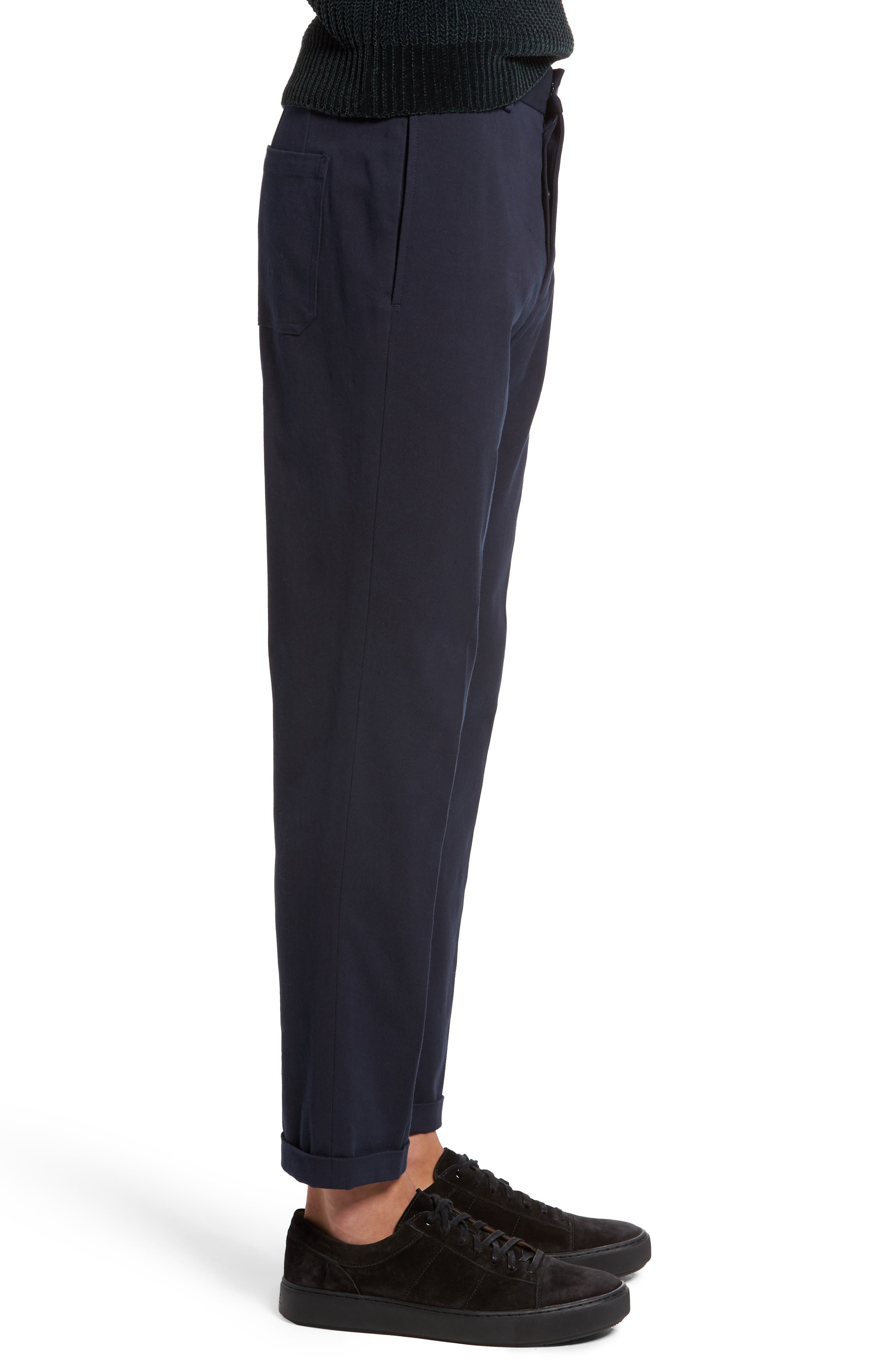 Cropped Slim Fit Trousers,                             Alternate thumbnail 3, color,                             Coastal