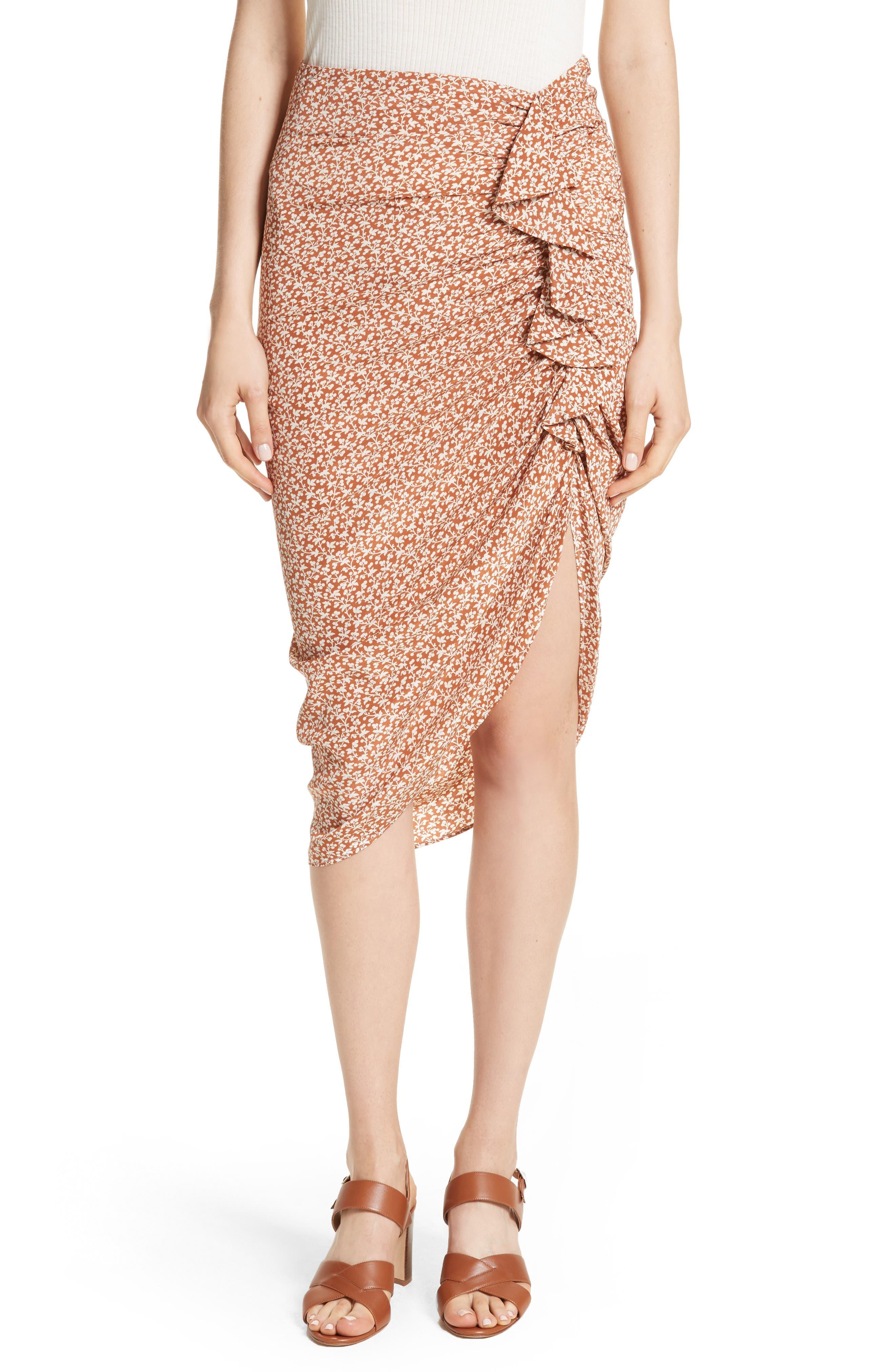 Alternate Image 1 Selected - Veronica Beard Hazel Ruffle Ruched Silk Skirt