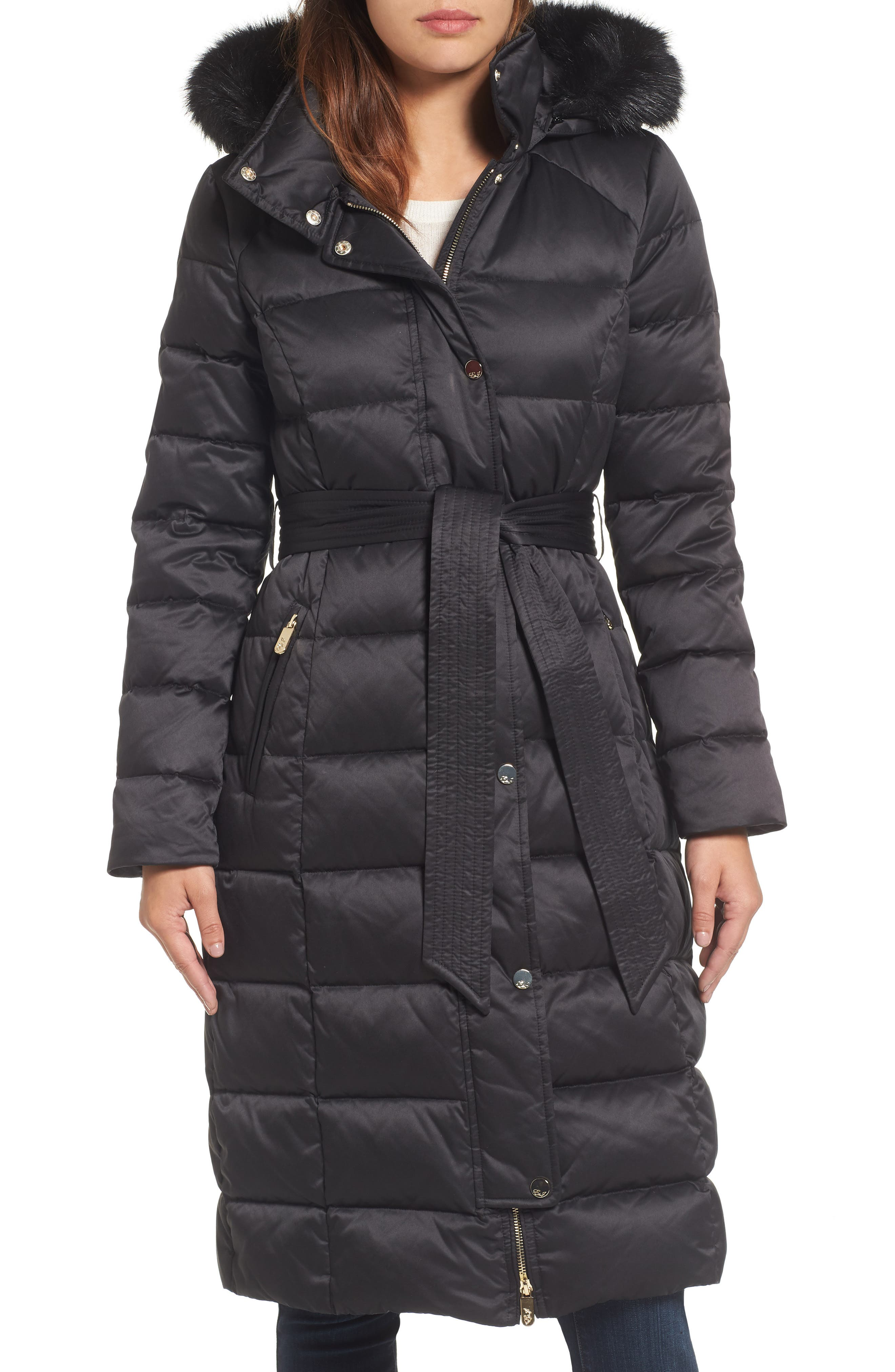 Down Midi Coat with Faux Fur Trim,                             Main thumbnail 1, color,                             Black
