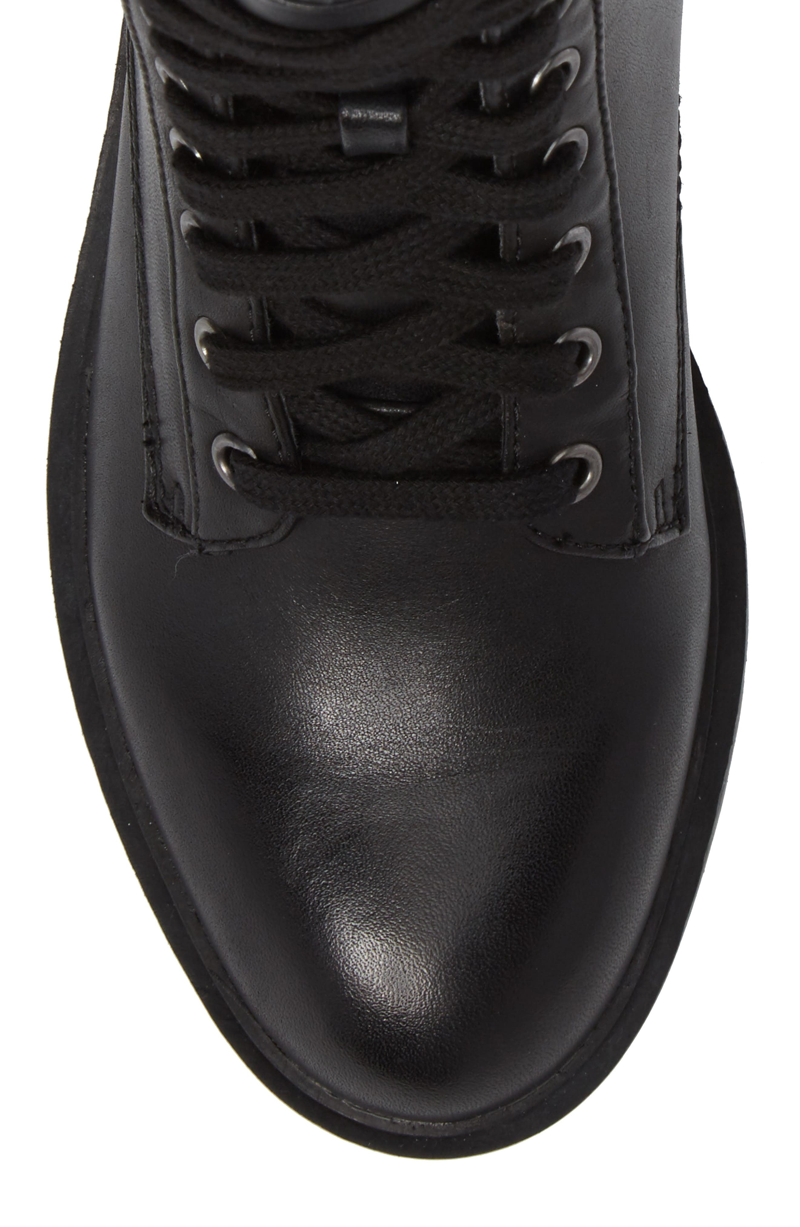 Officer Combat Boot,                             Alternate thumbnail 5, color,                             Black Leather