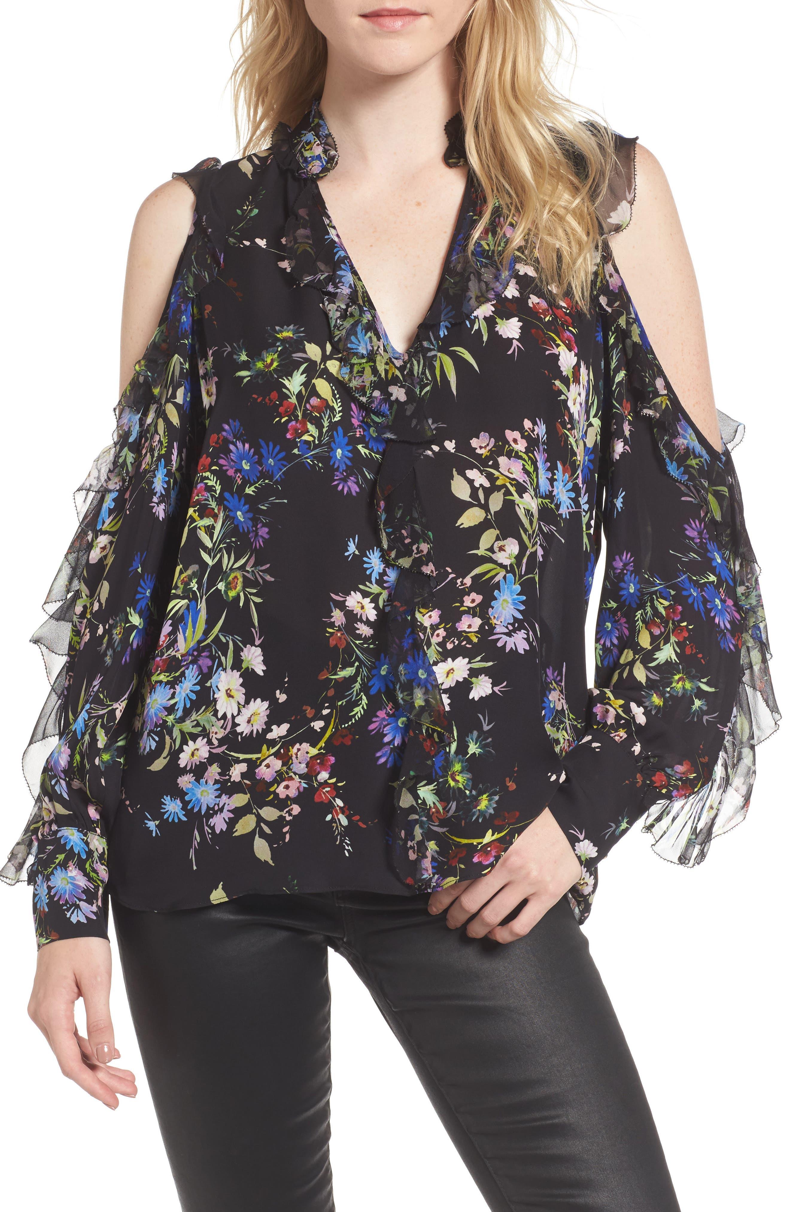 Parker Elana Floral Ruffle Silk Blouse