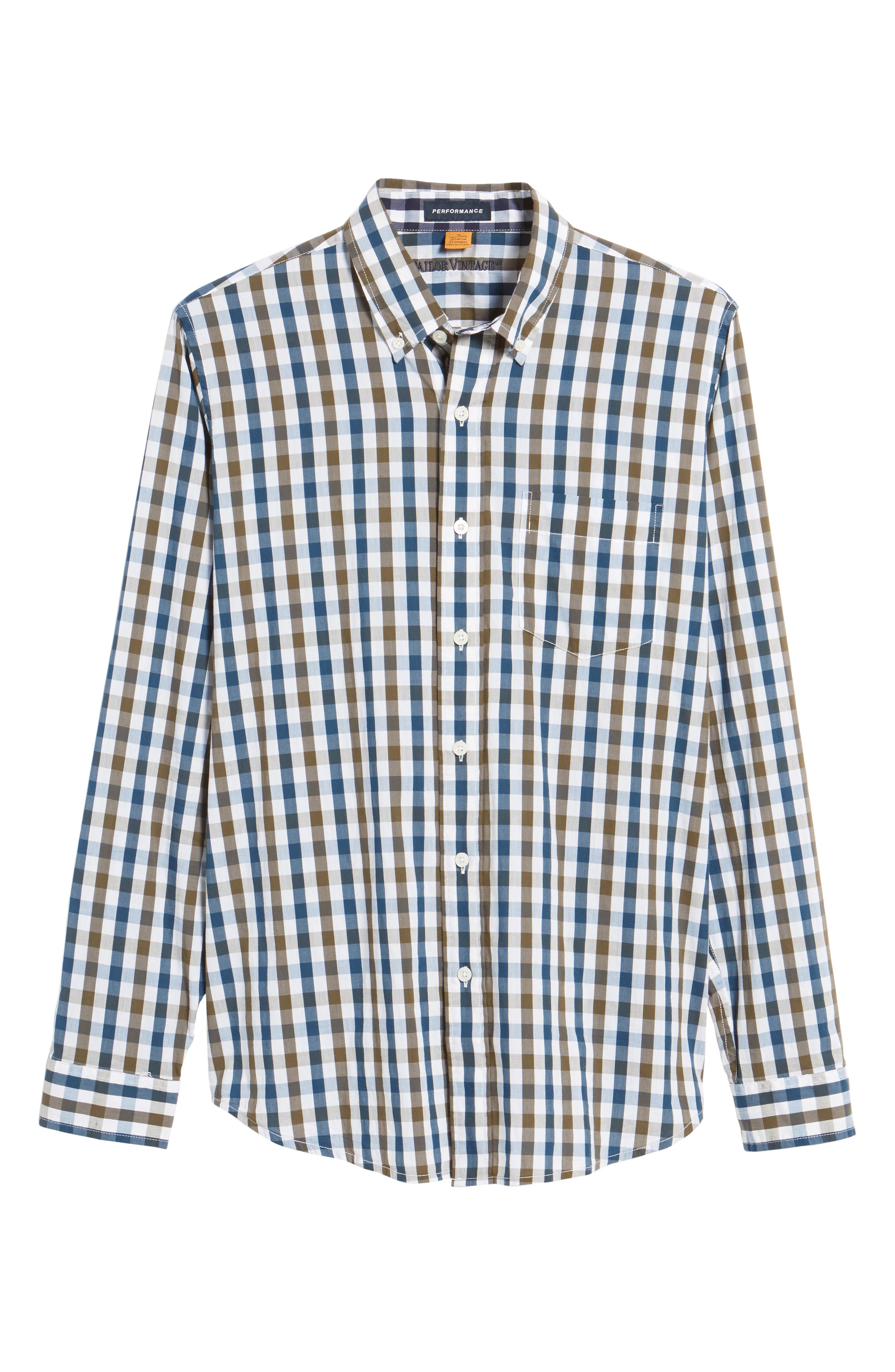 Regular Fit Performance Sport Shirt,                             Alternate thumbnail 6, color,                             Teal/ Army Tricolor Gingham