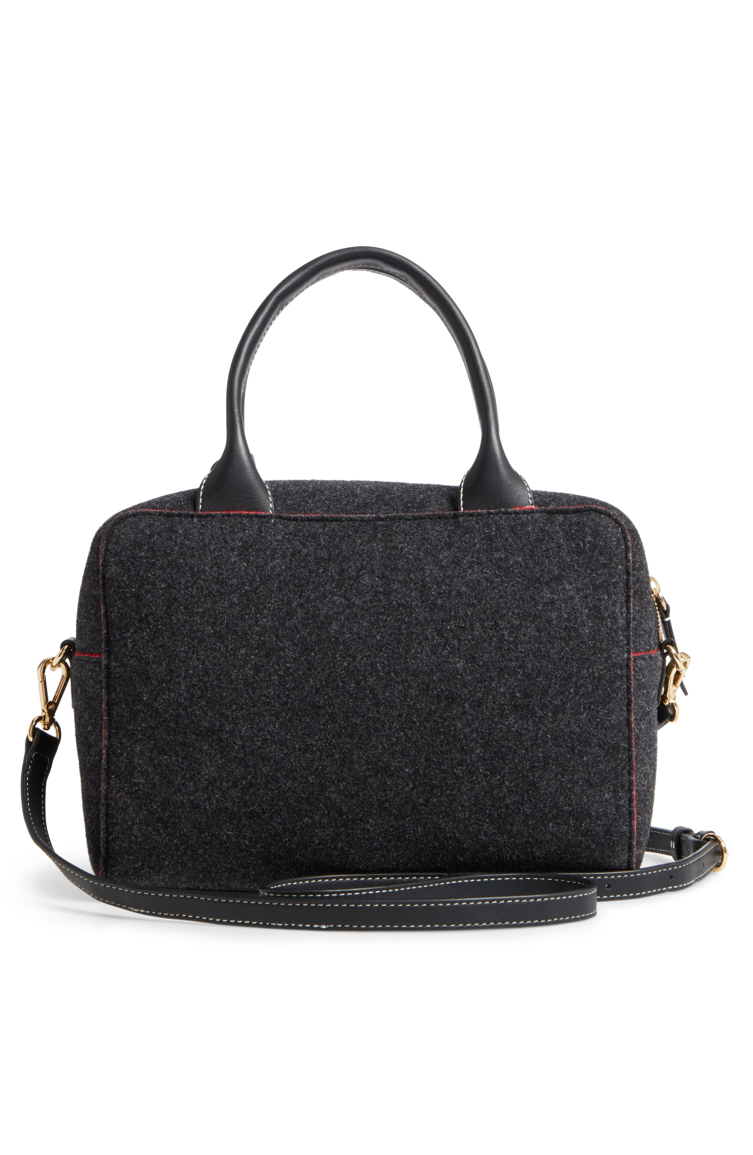 Medium Wool & Leather Satchel,                             Alternate thumbnail 2, color,                             Charcoal