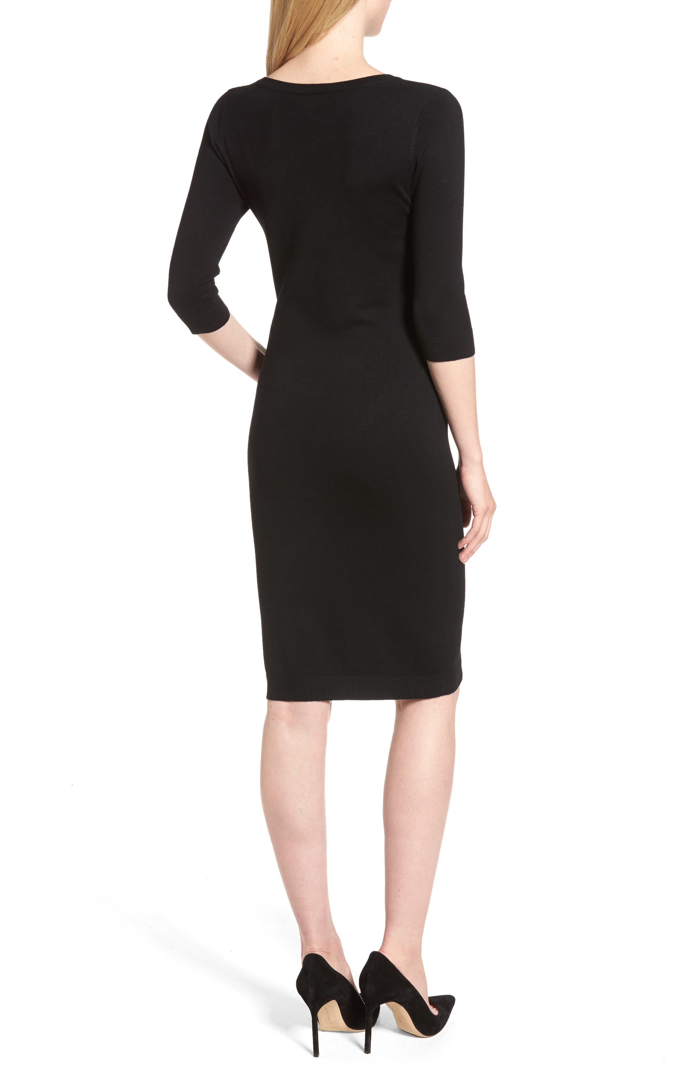 Elbow Sleeve Sweater Dress,                             Alternate thumbnail 2, color,                             Black