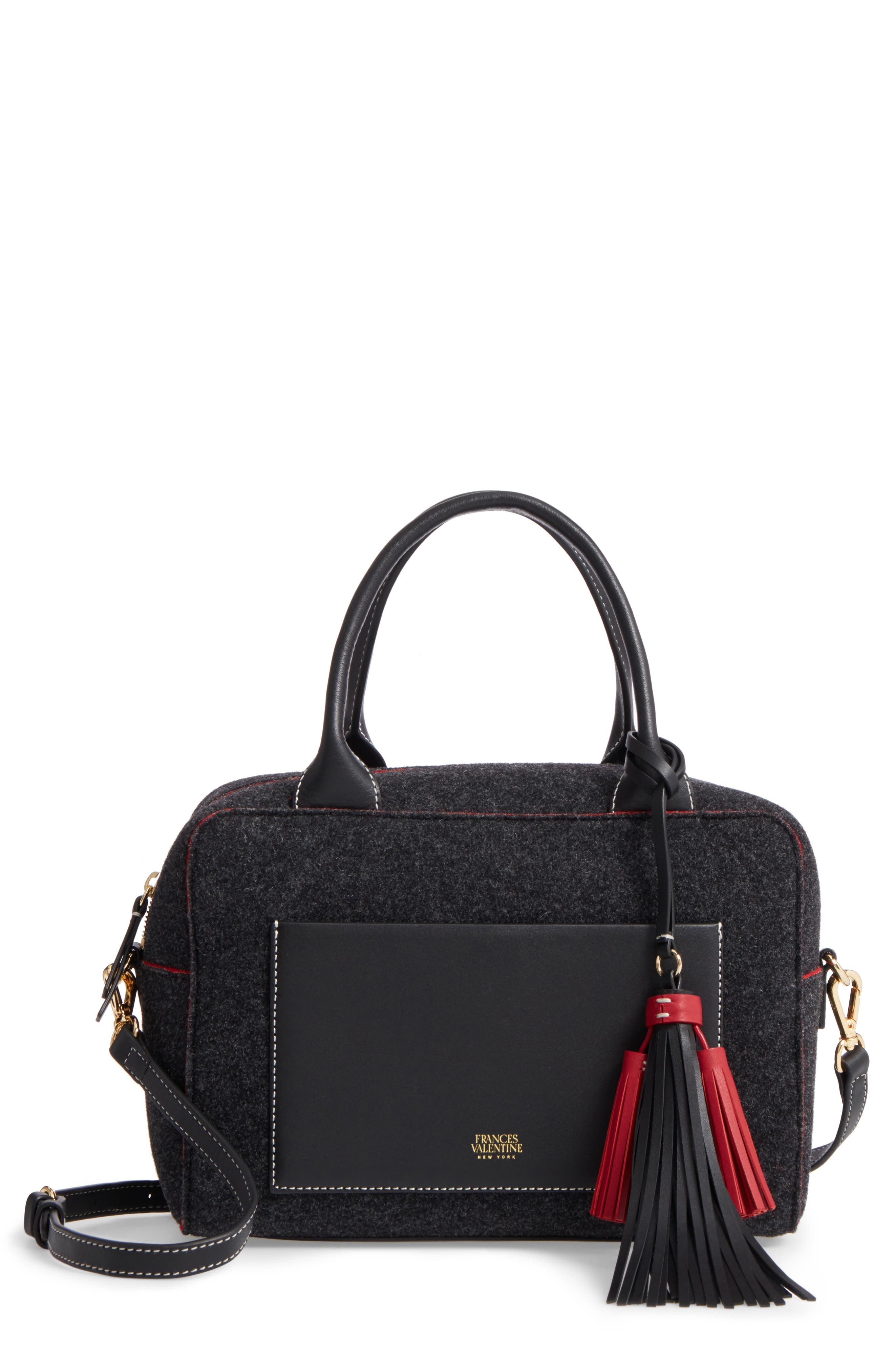 Medium Wool & Leather Satchel,                         Main,                         color, Charcoal