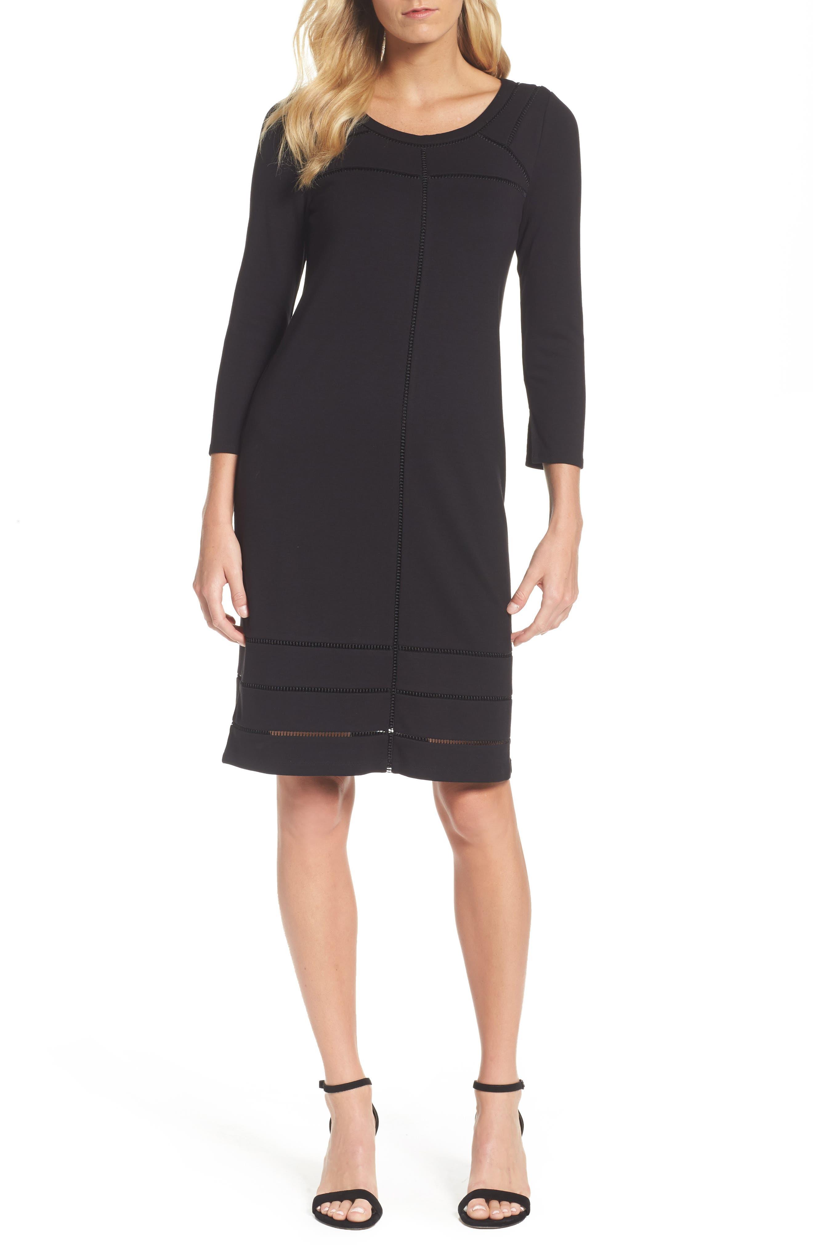 Everyday Ponte Knit Shift Dress,                         Main,                         color, Black Onyx