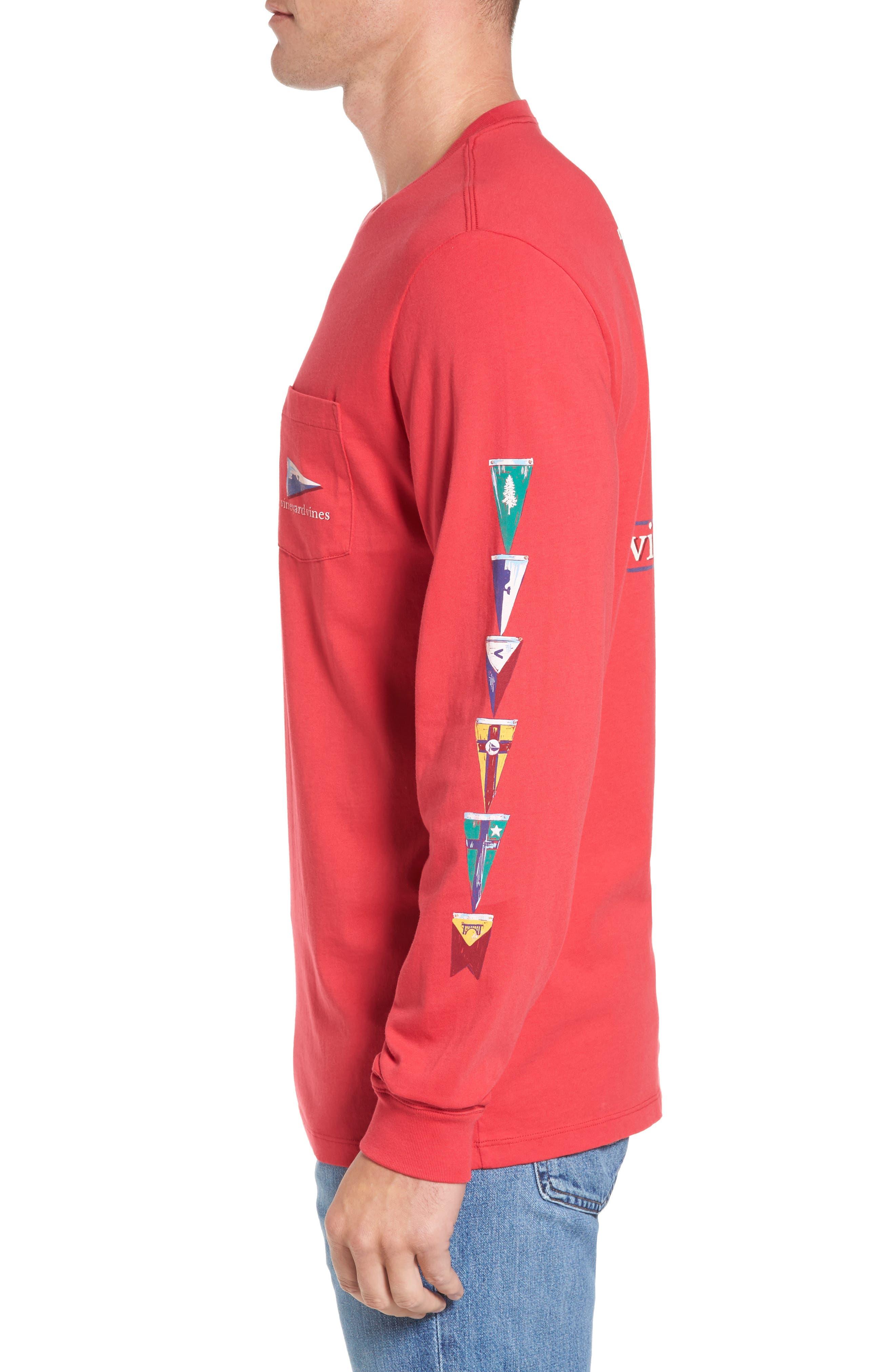 Coastal Burgees Long Sleeve Pocket T-Shirt,                             Alternate thumbnail 3, color,                             Barberry