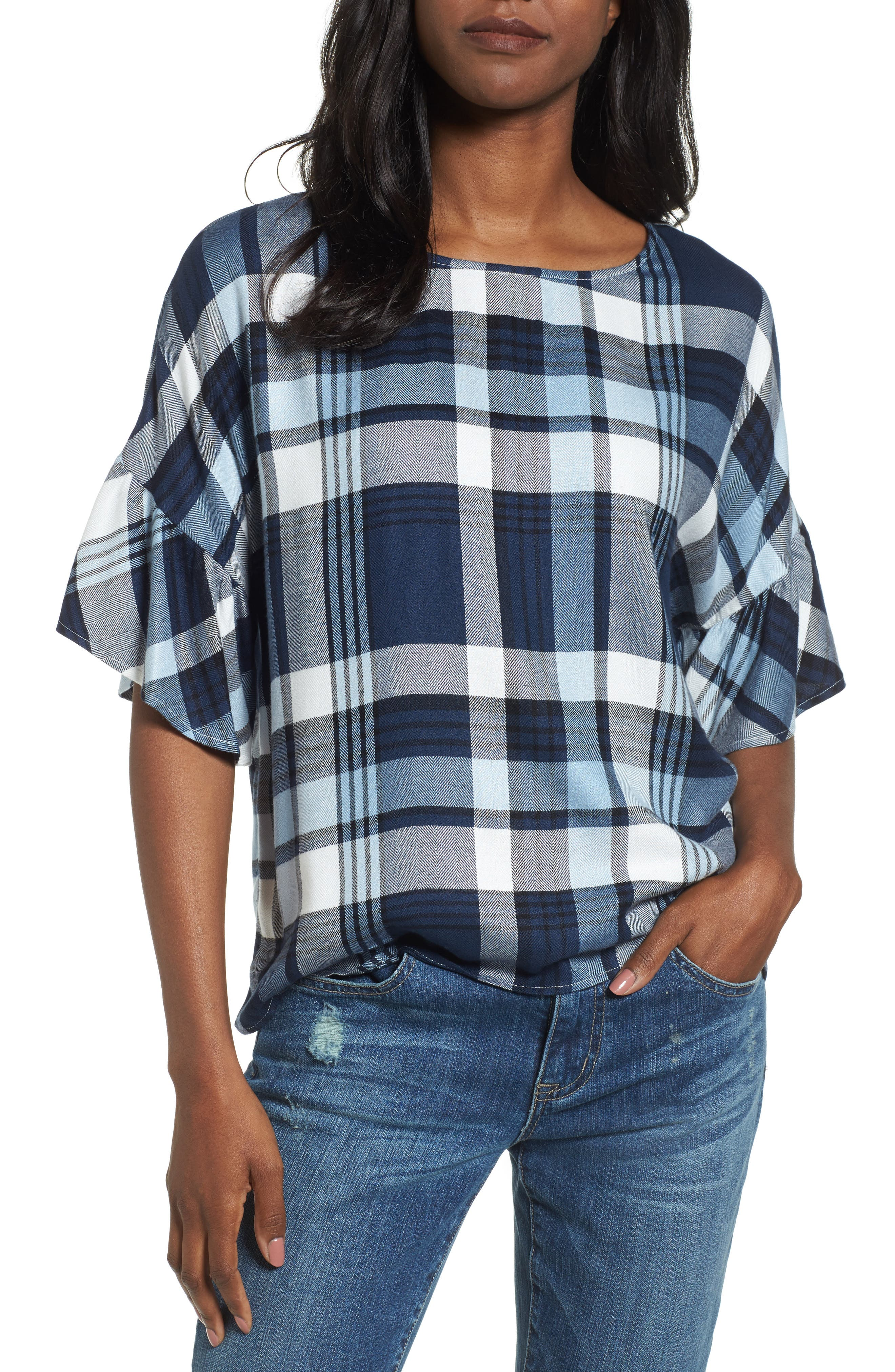 Alternate Image 1 Selected - Two by Vince Camuto Ruffle Sleeve Plaid Top (Regular & Petite)