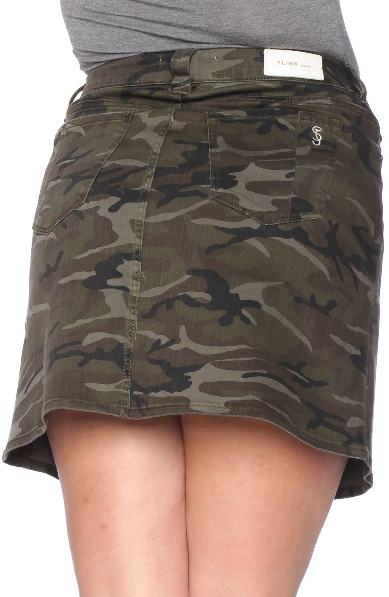Camo Print Skirt,                             Alternate thumbnail 3, color,                             Olive Camo