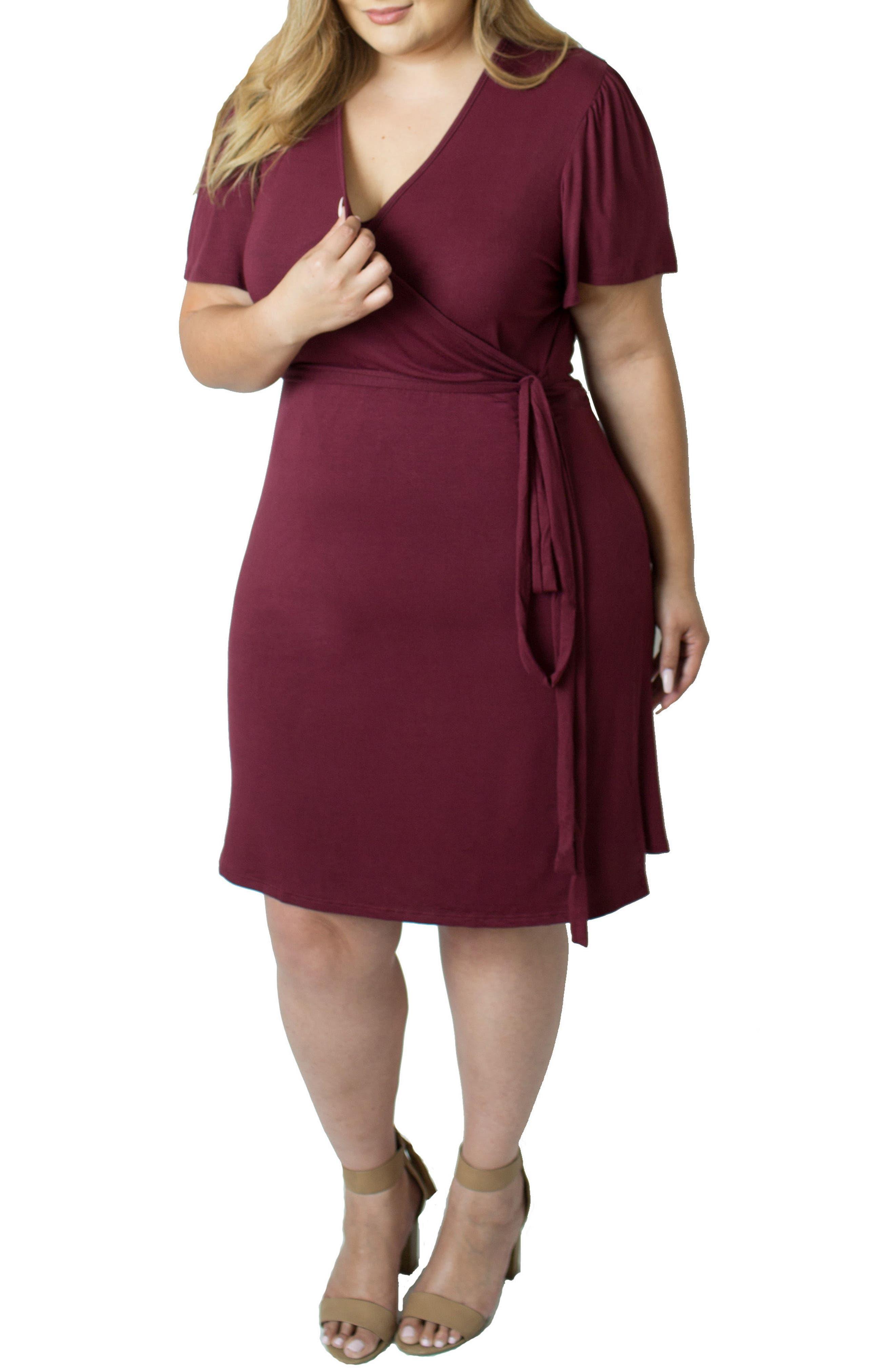 Wrap Nursing Dress,                             Alternate thumbnail 4, color,                             Red