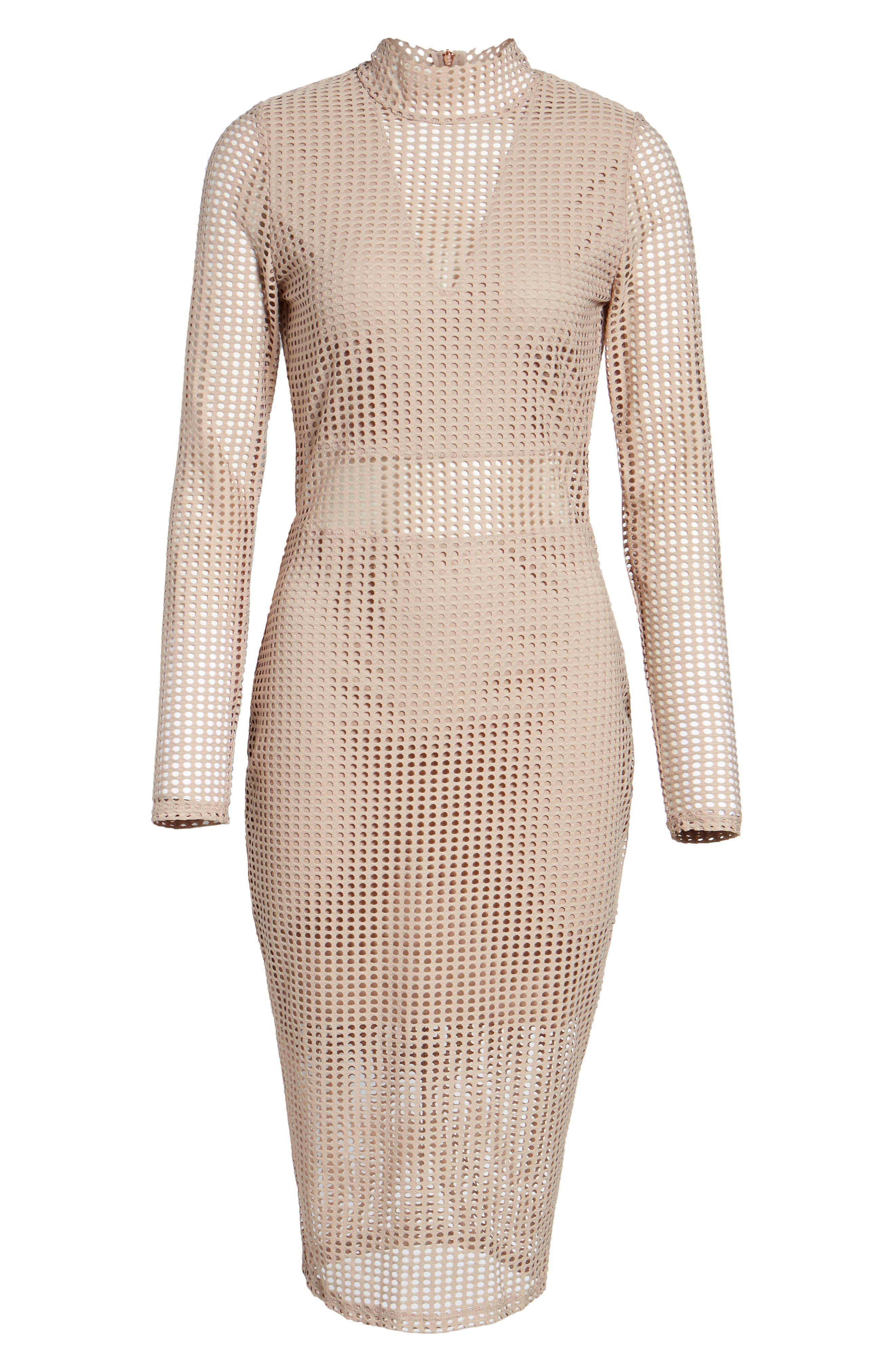 Laser Cut Body-Con Dress,                             Alternate thumbnail 6, color,                             Dusty Pink
