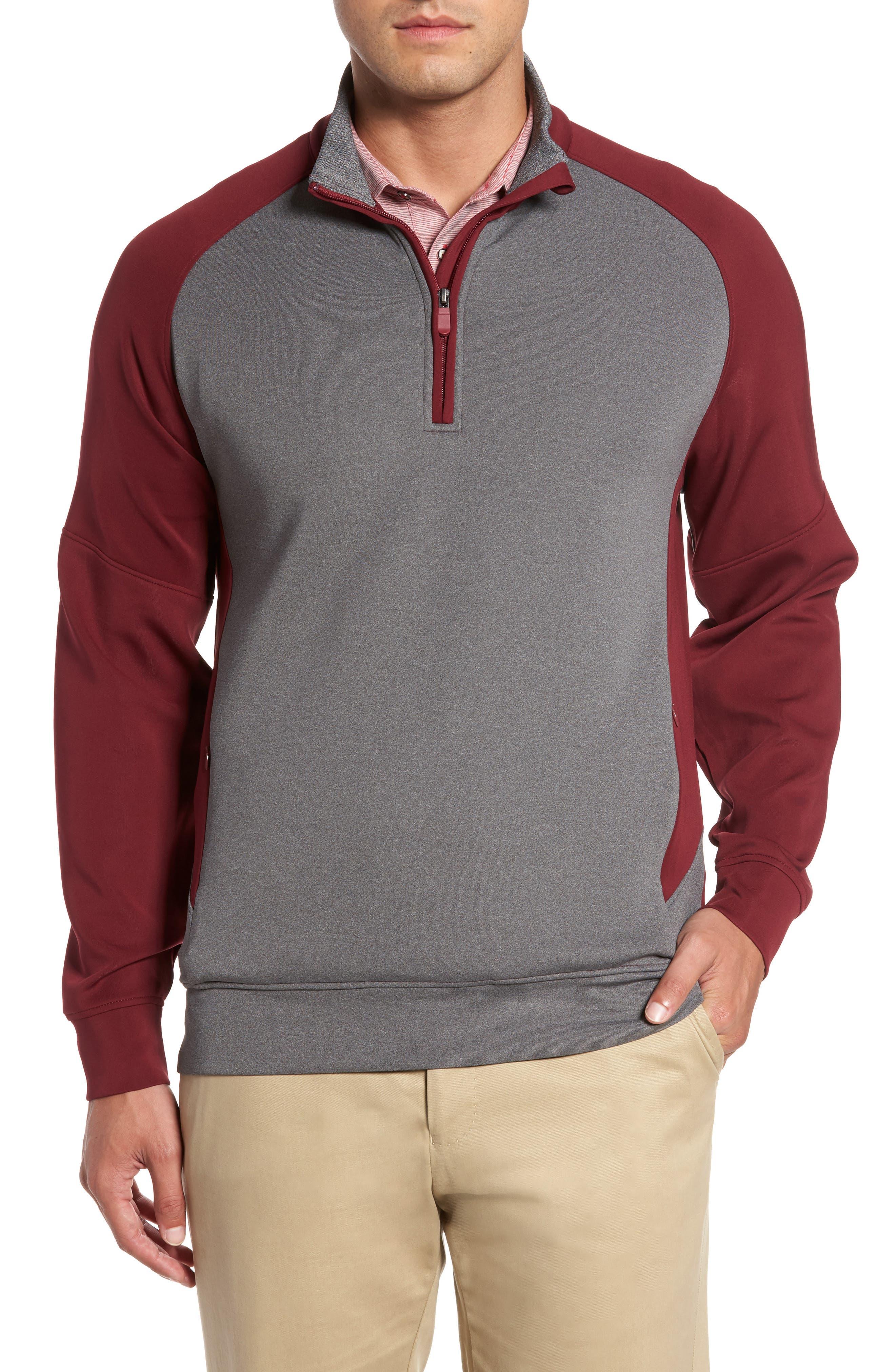 R18 Chapman Tech Quarter Zip Pullover,                         Main,                         color, Oxblood