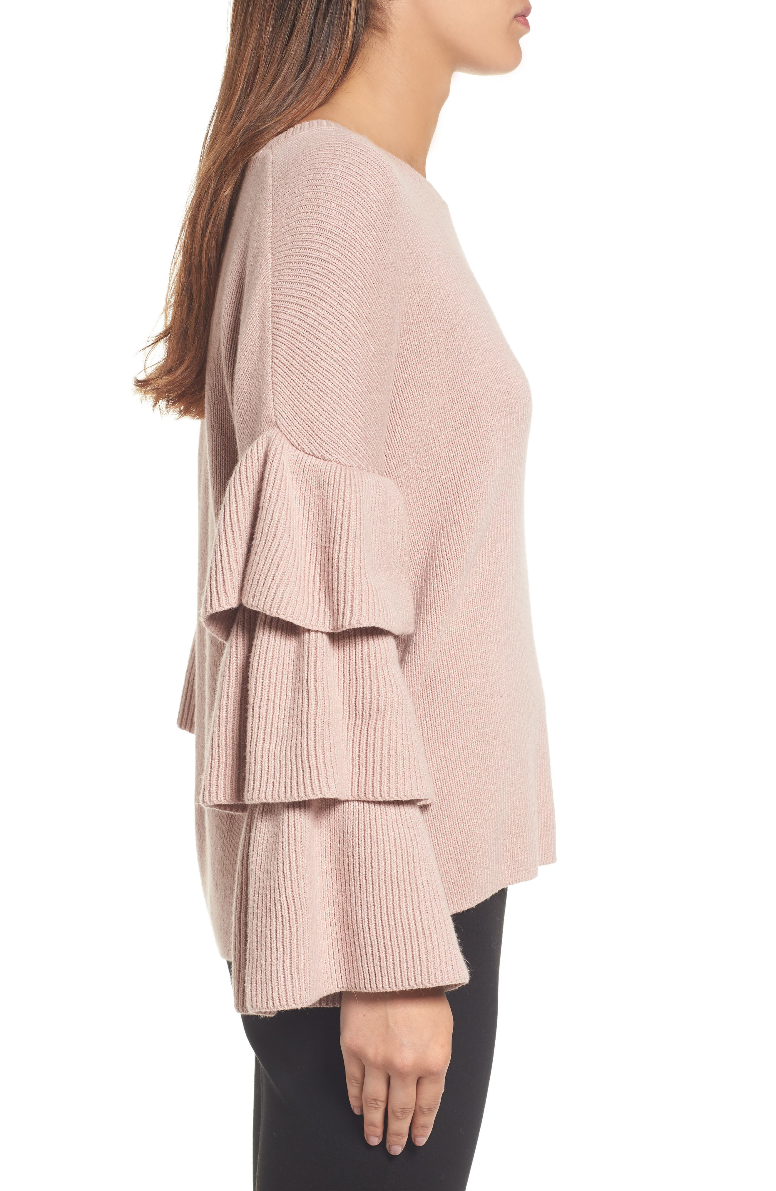 Ruffle Sleeve Sweater,                             Alternate thumbnail 6, color,                             Pink Adobe
