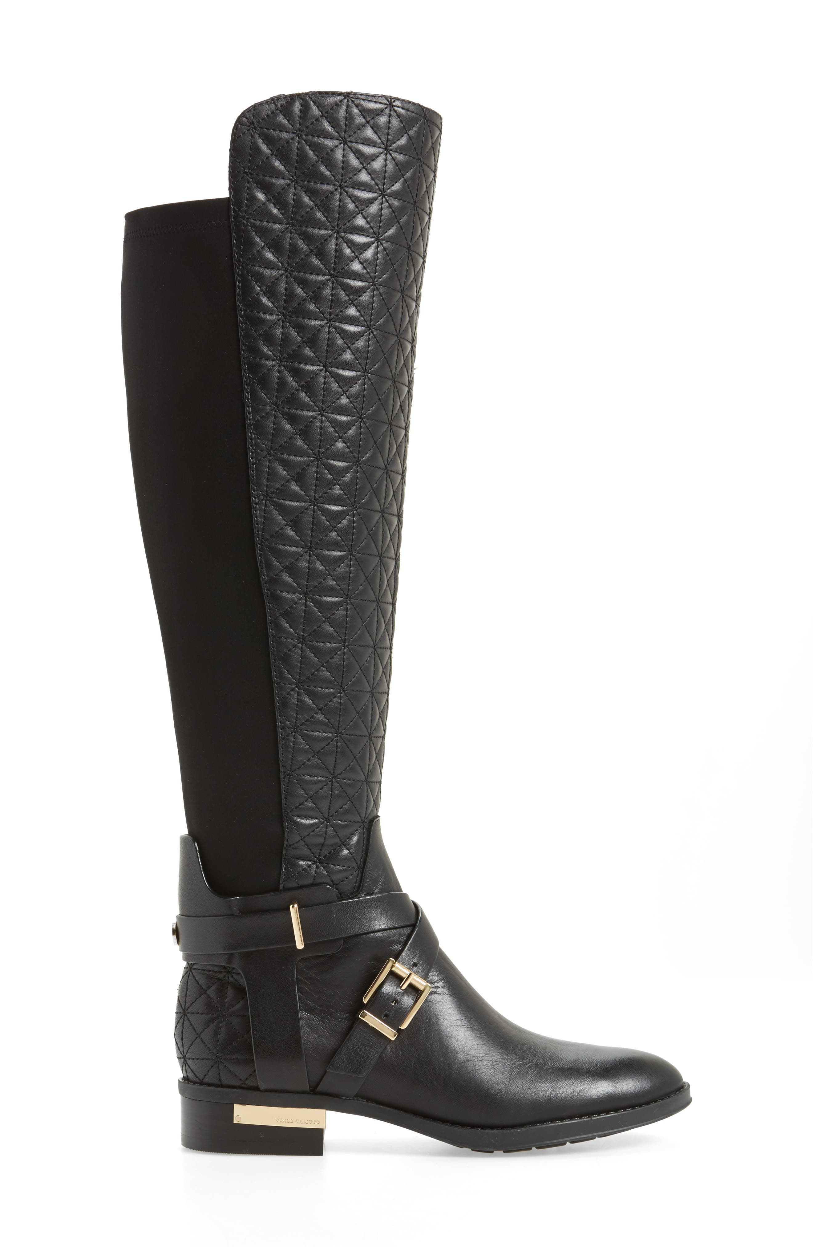 Patira Over the Knee Boot,                             Alternate thumbnail 3, color,                             Black Leather Wide Calf