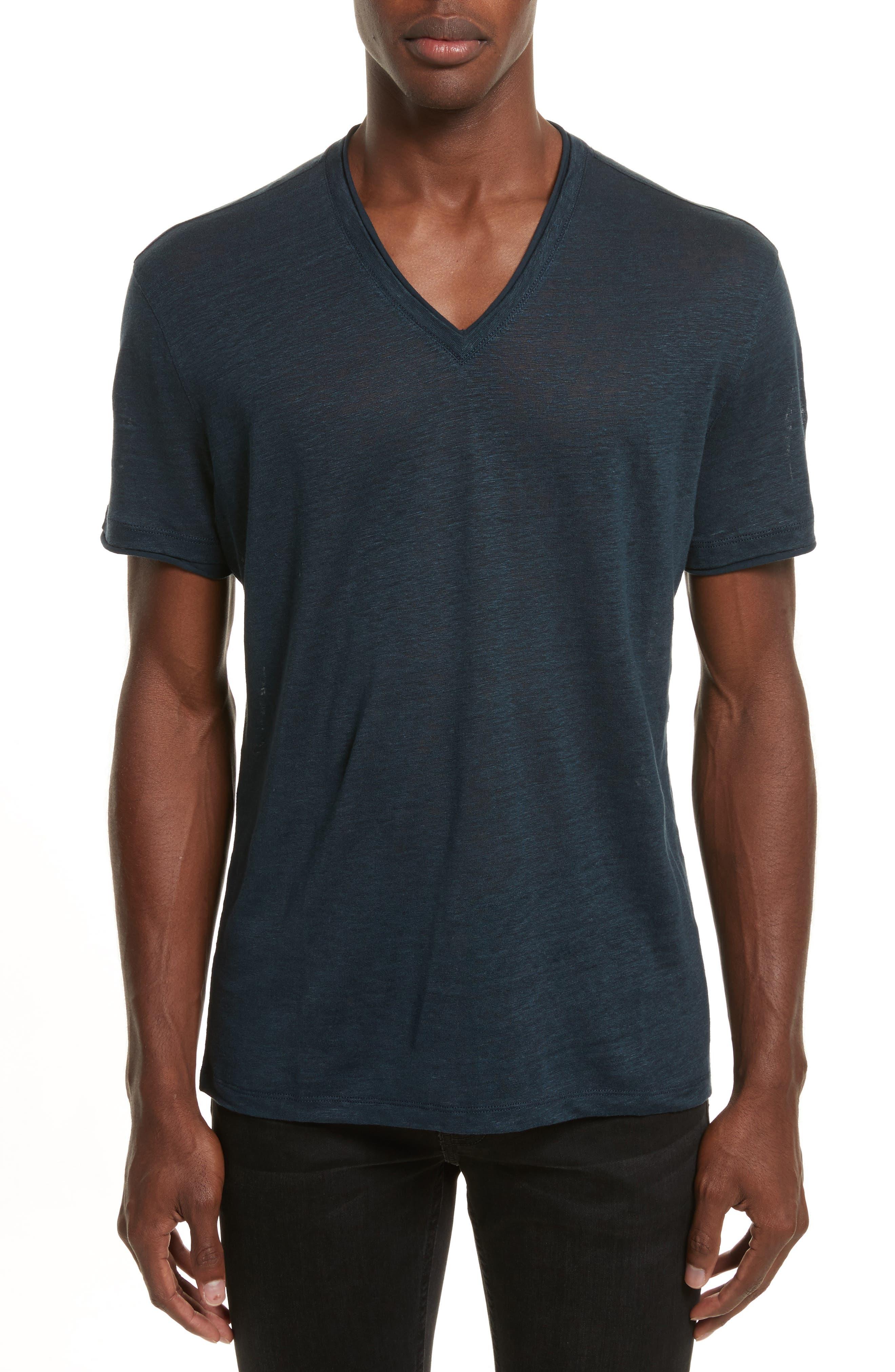 John Varvatos Linen V-Neck T-Shirt