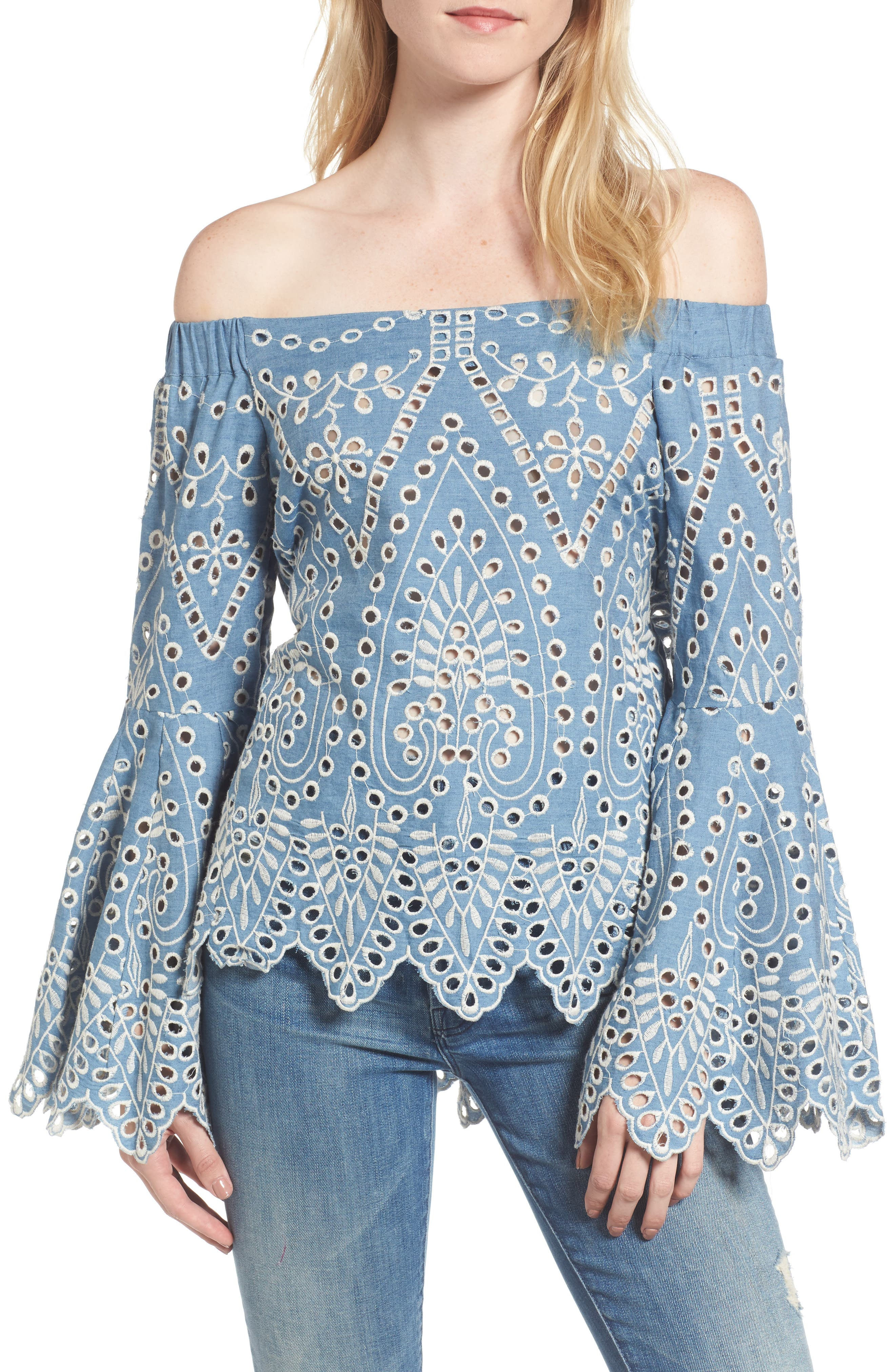 Off the Shoulder Chambray Top,                             Main thumbnail 1, color,                             Embroidered Chambray