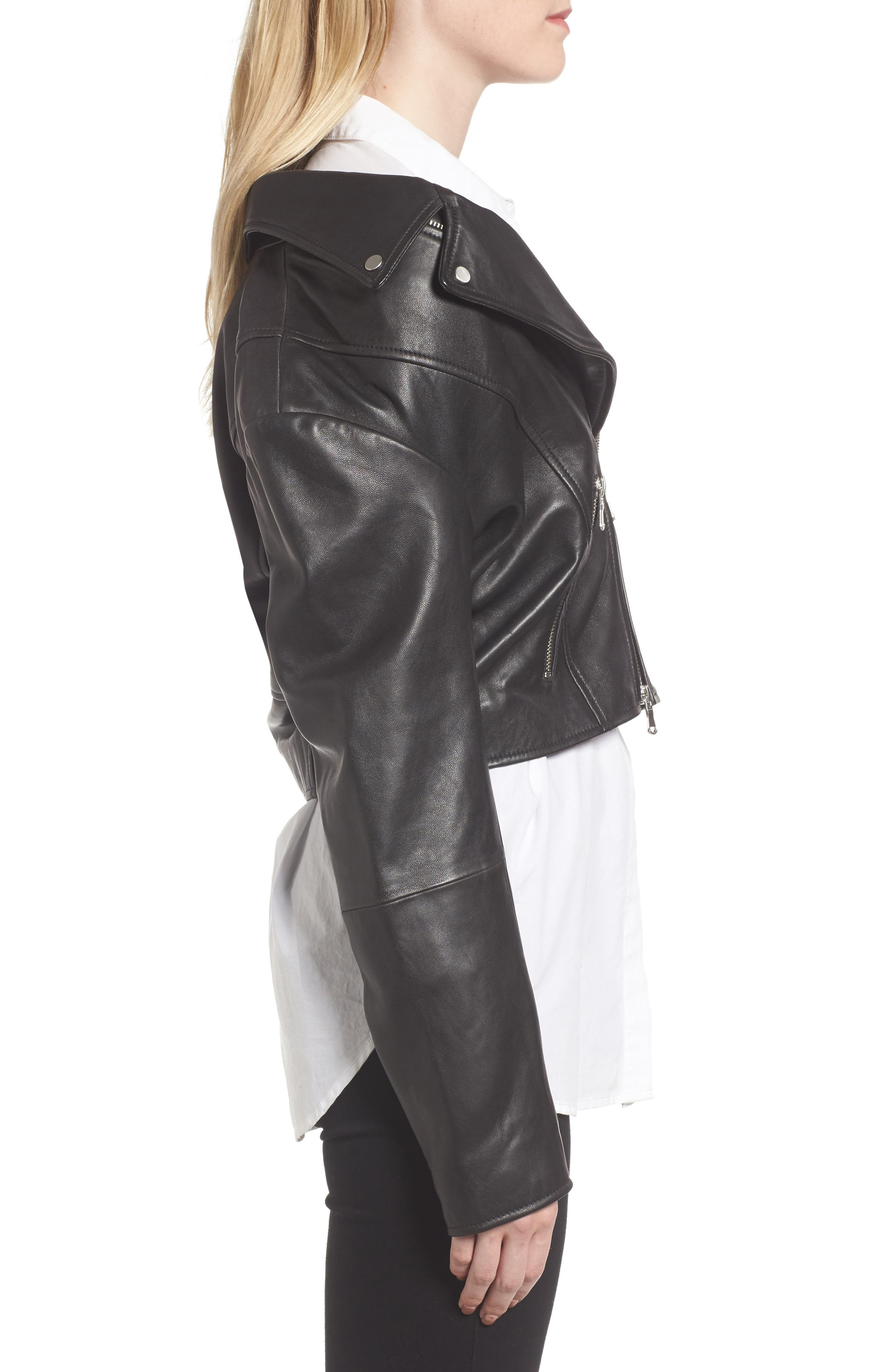 Alternate Image 5  - Trouvé Off the Shoulder Leather Moto Jacket