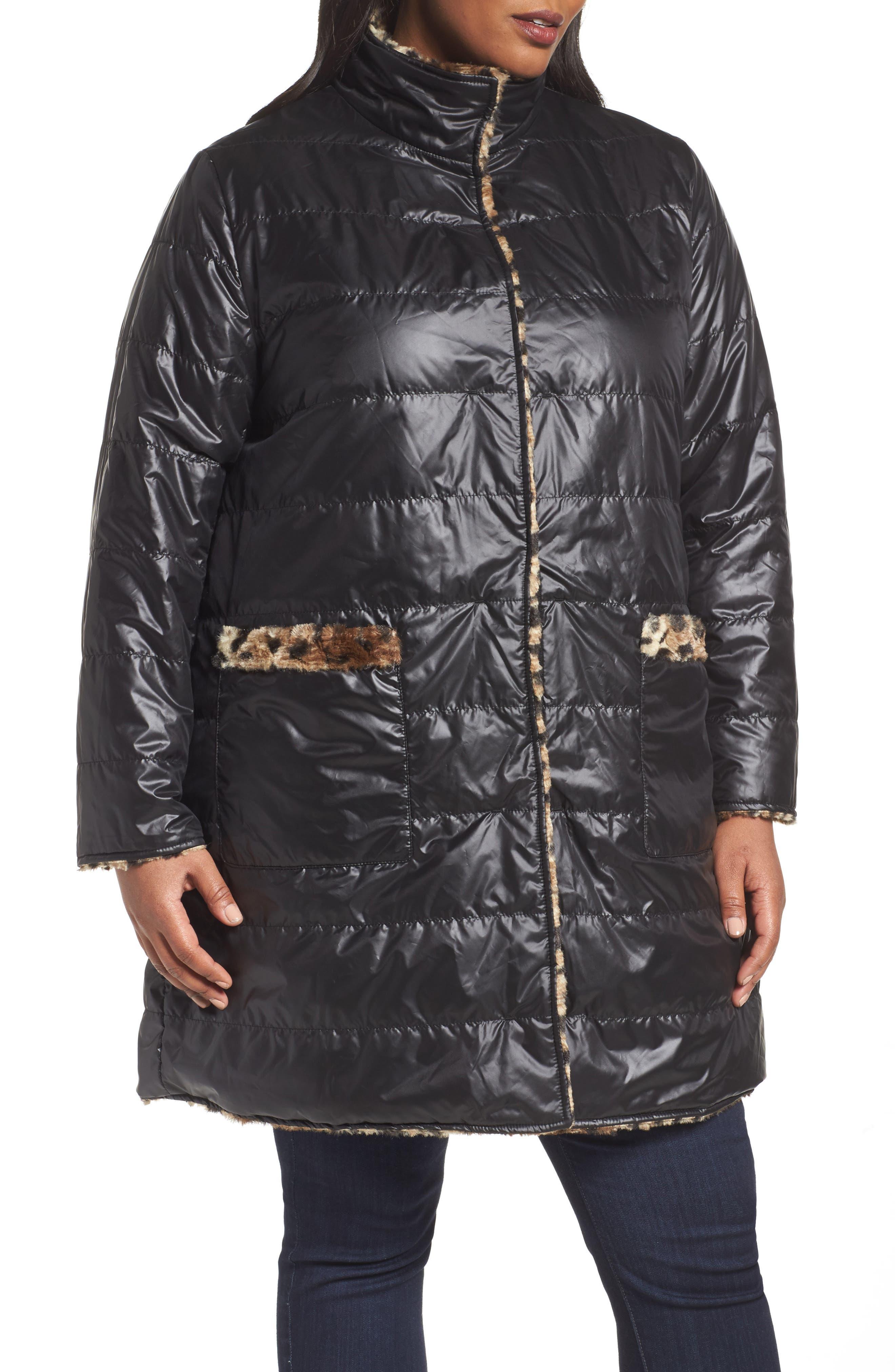 Reversible Coat,                             Alternate thumbnail 4, color,                             Cheetah