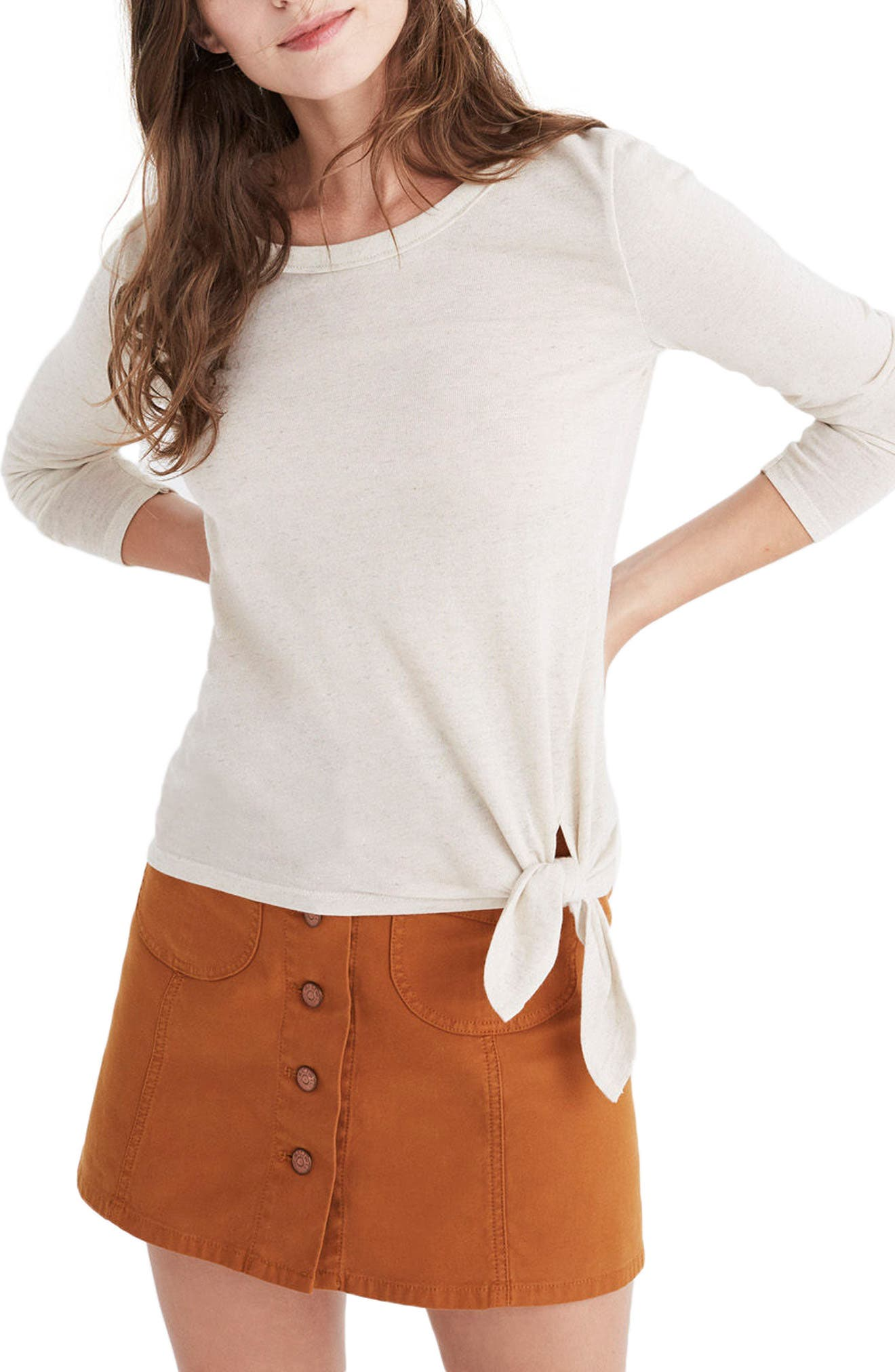 Soundcheck Side Tie Tee,                         Main,                         color, Natural