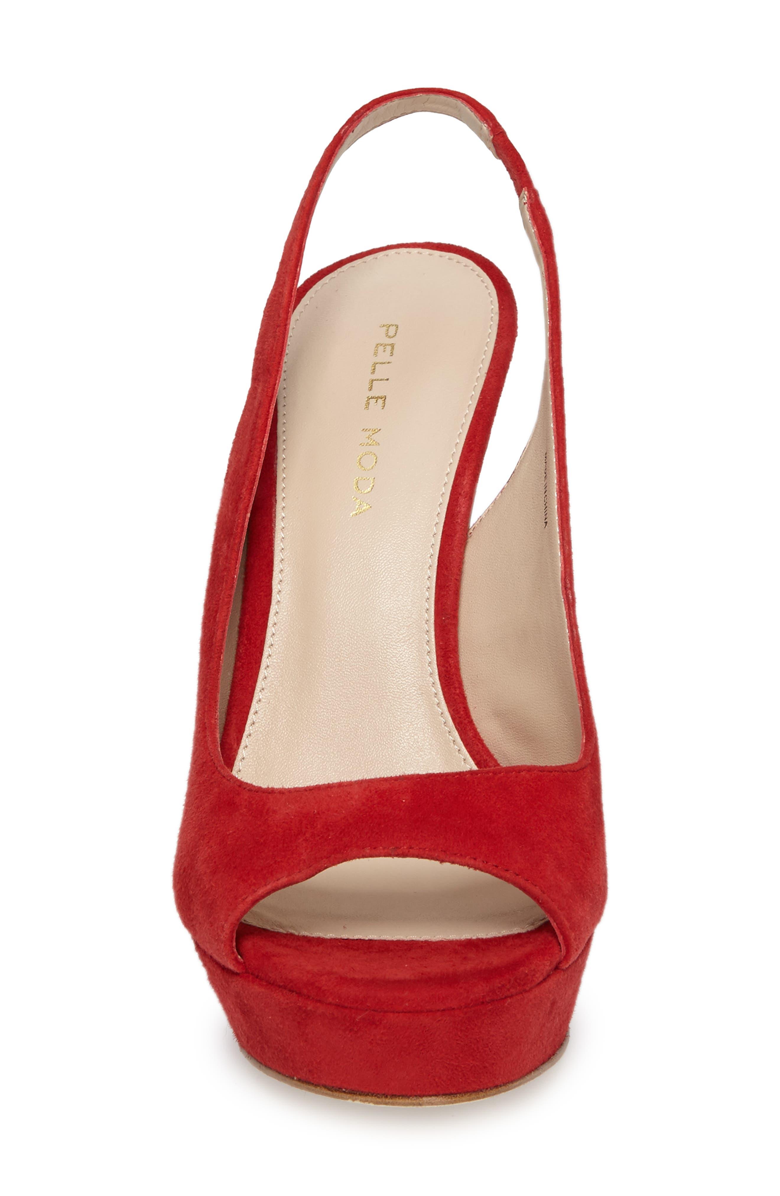 Oana Slingback Platform Sandal,                             Alternate thumbnail 4, color,                             Lipstick Suede