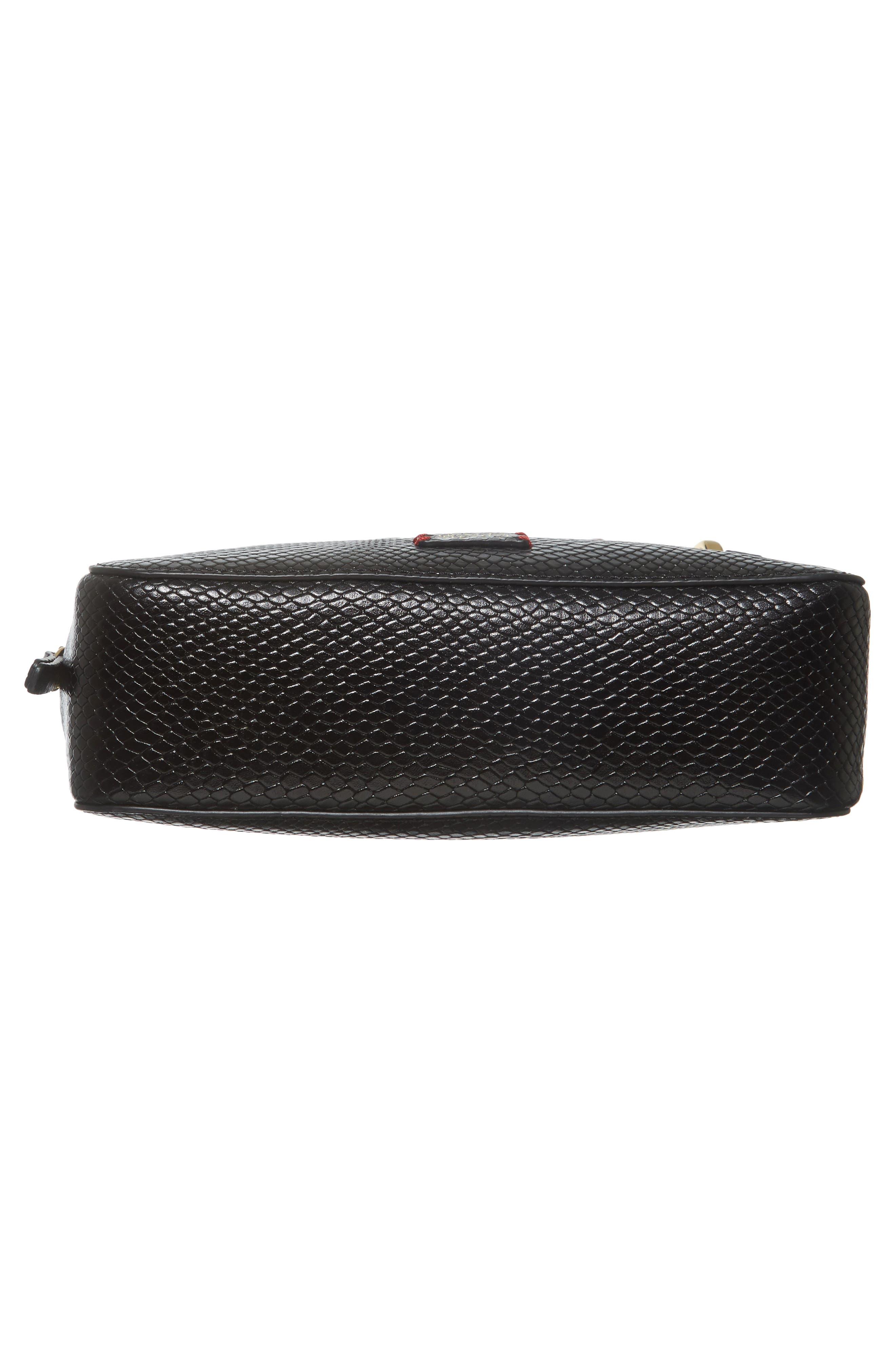 Snakeskin Embossed Leather Crossbody Bag,                             Alternate thumbnail 5, color,                             Black