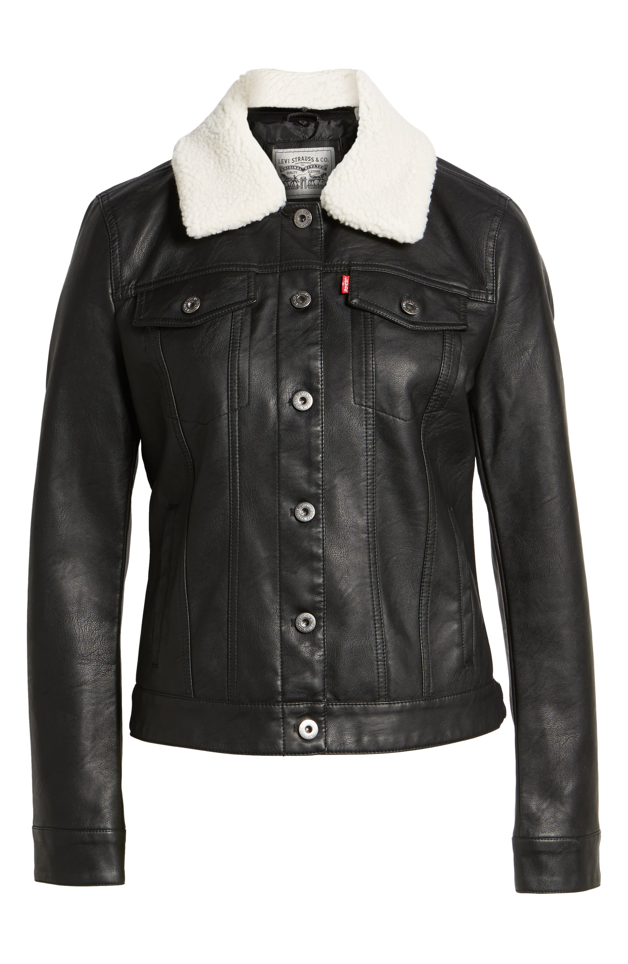 Faux Leather Jacket with Detachable Faux Fur,                             Alternate thumbnail 6, color,                             Black