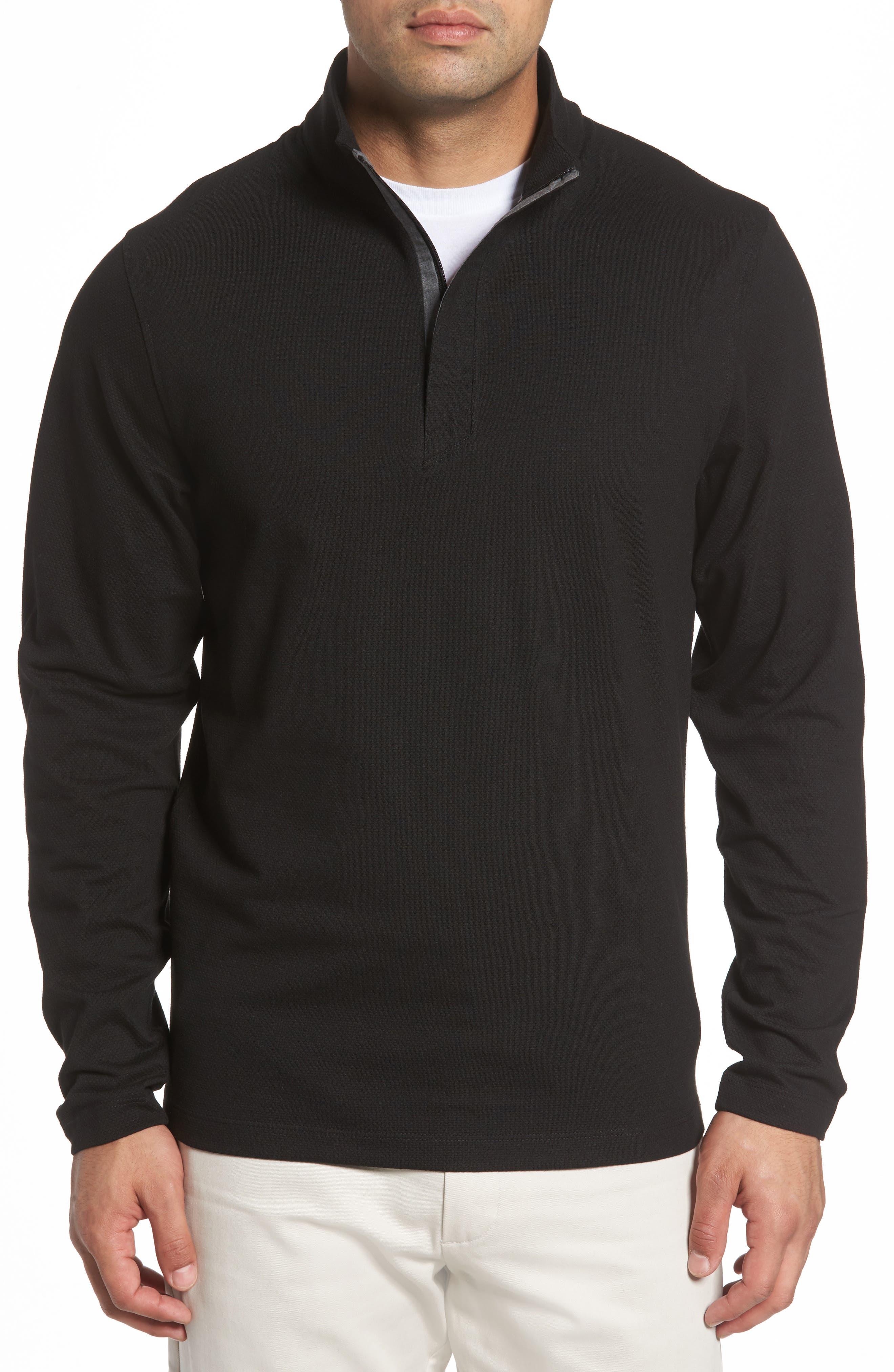 Hewitt Quarter-Zip Waffle Knit Pullover,                             Main thumbnail 1, color,                             Black