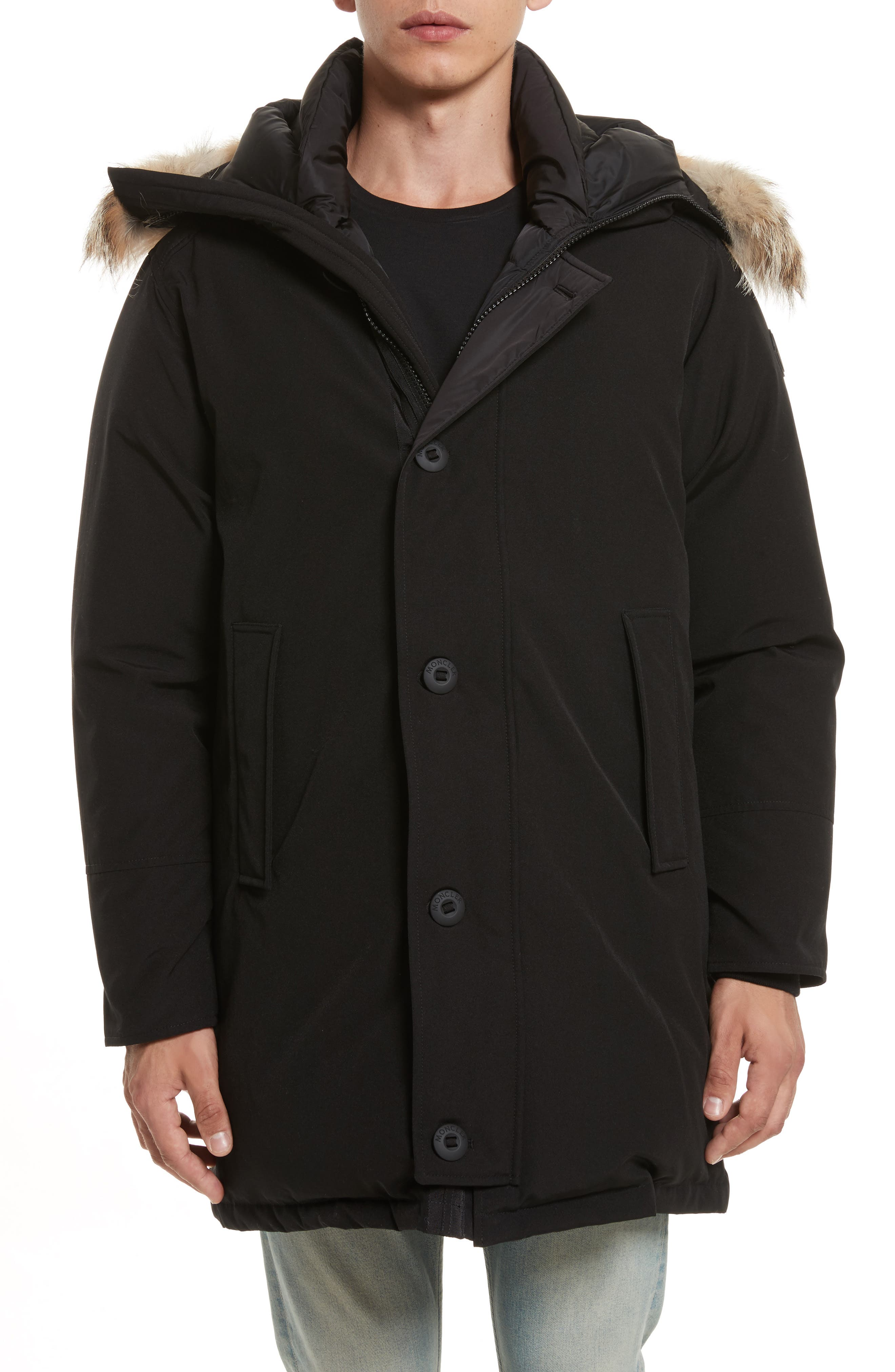 Aurelien Down Parka with Genuine Fur Trim,                         Main,                         color, Black