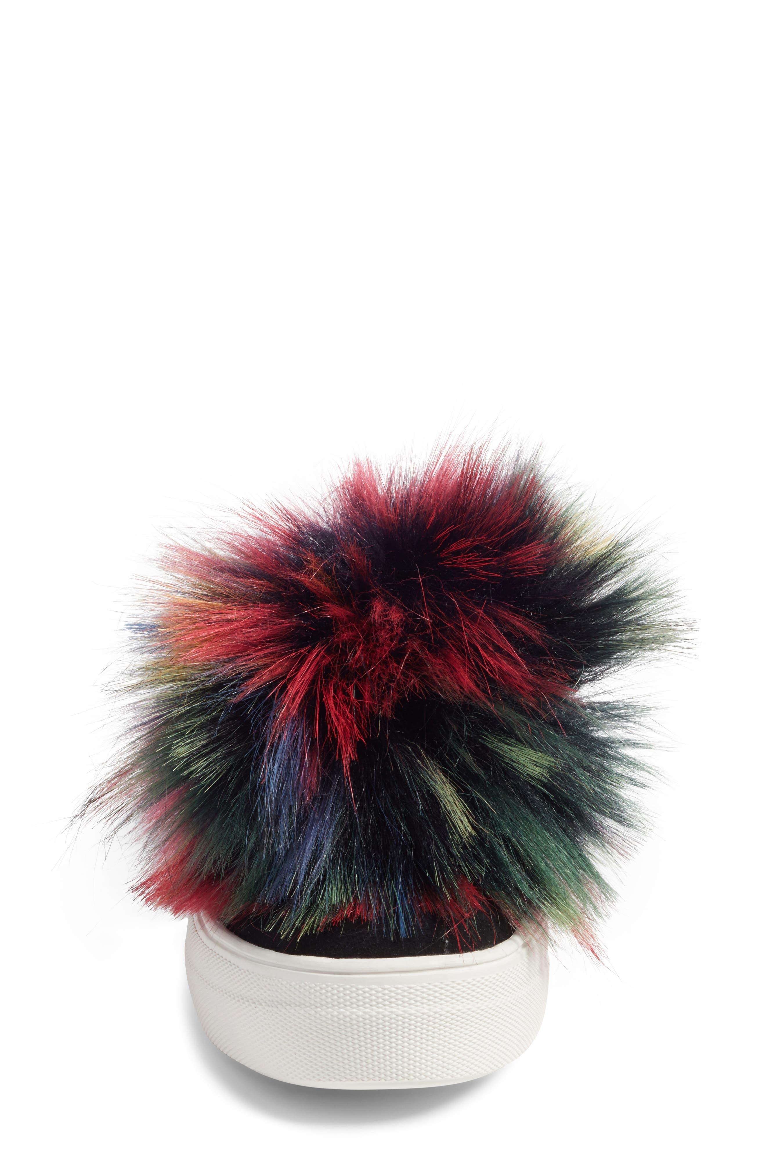Great Faux Fur Pom Platform Sneaker,                             Alternate thumbnail 4, color,                             Black Multi