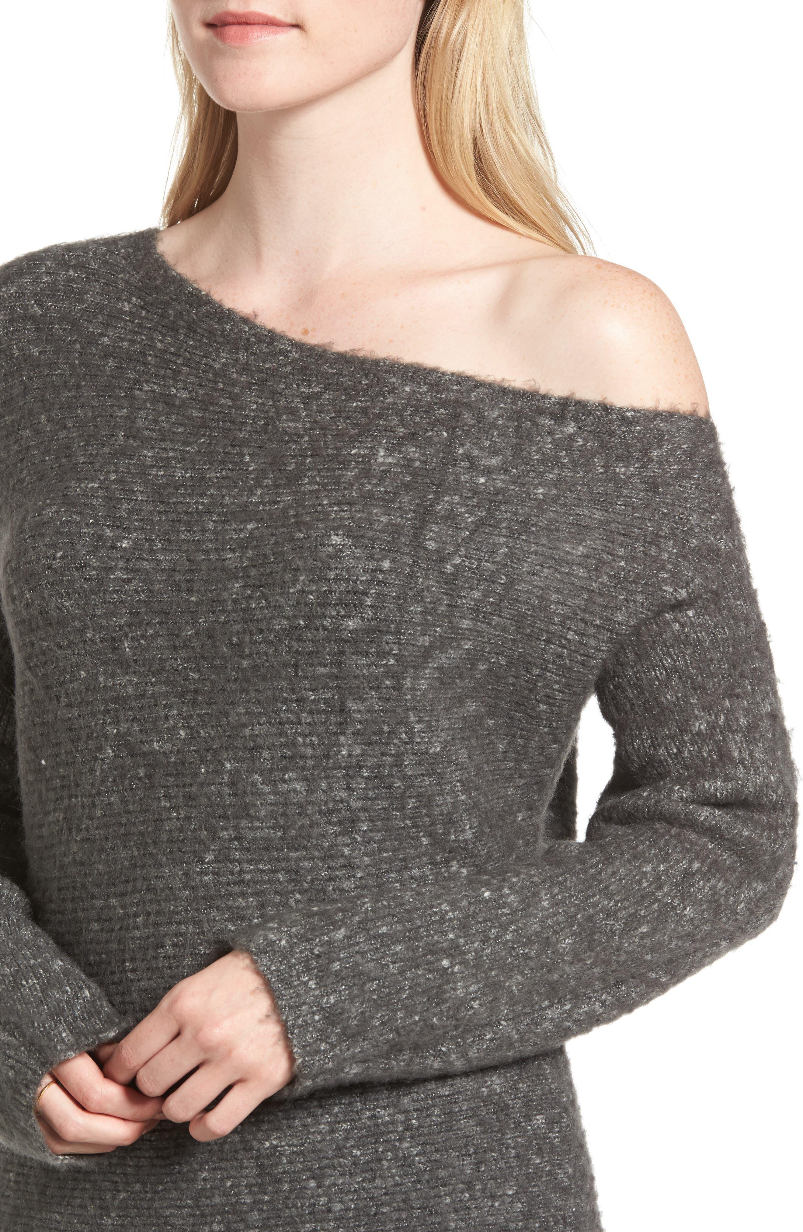 Alternate Image 4  - Treasure & Bond One-Shoulder Ribbed Sweater