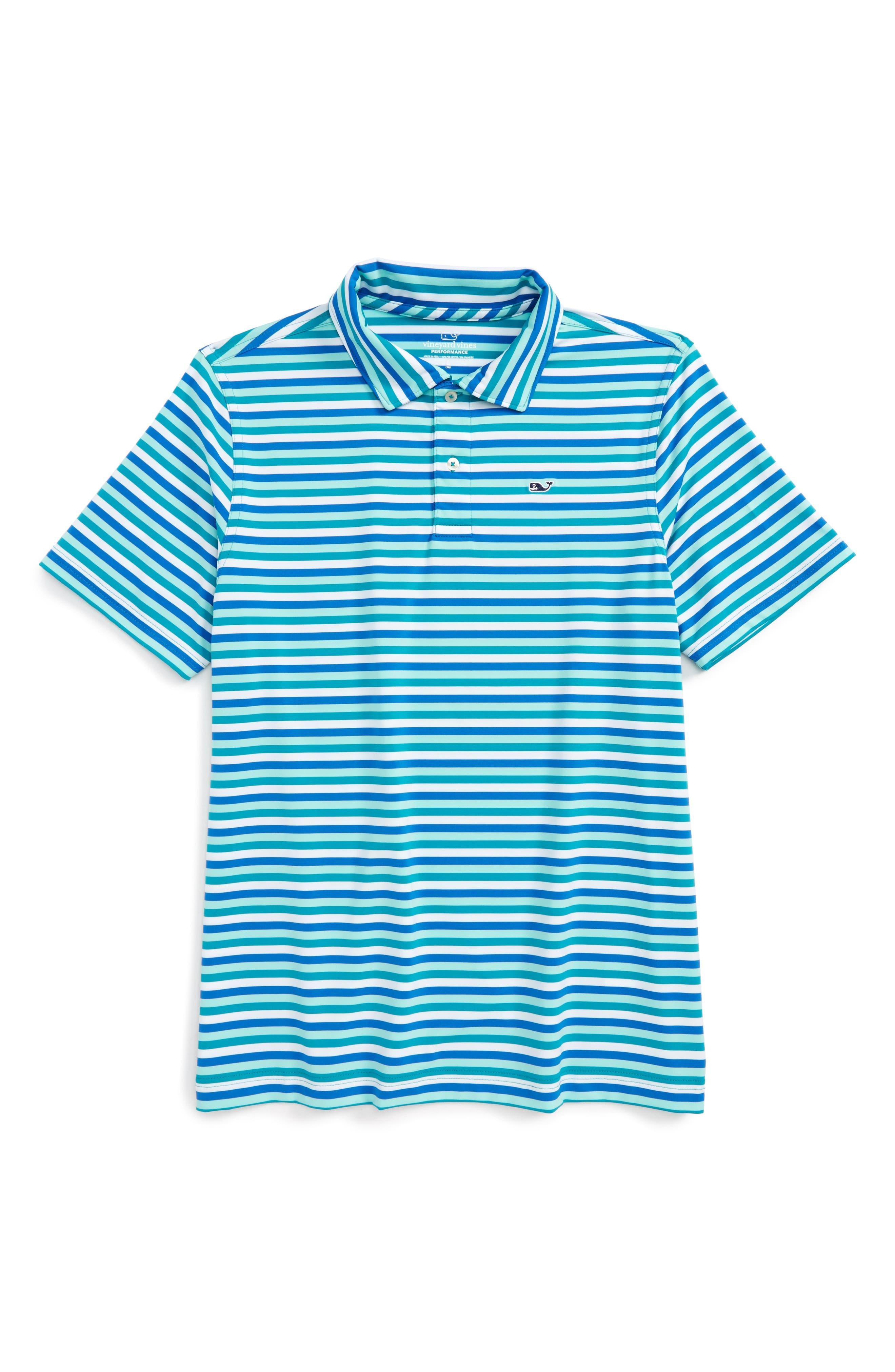 Feeder Stripe Performance Polo,                             Main thumbnail 1, color,                             Turquois Sea
