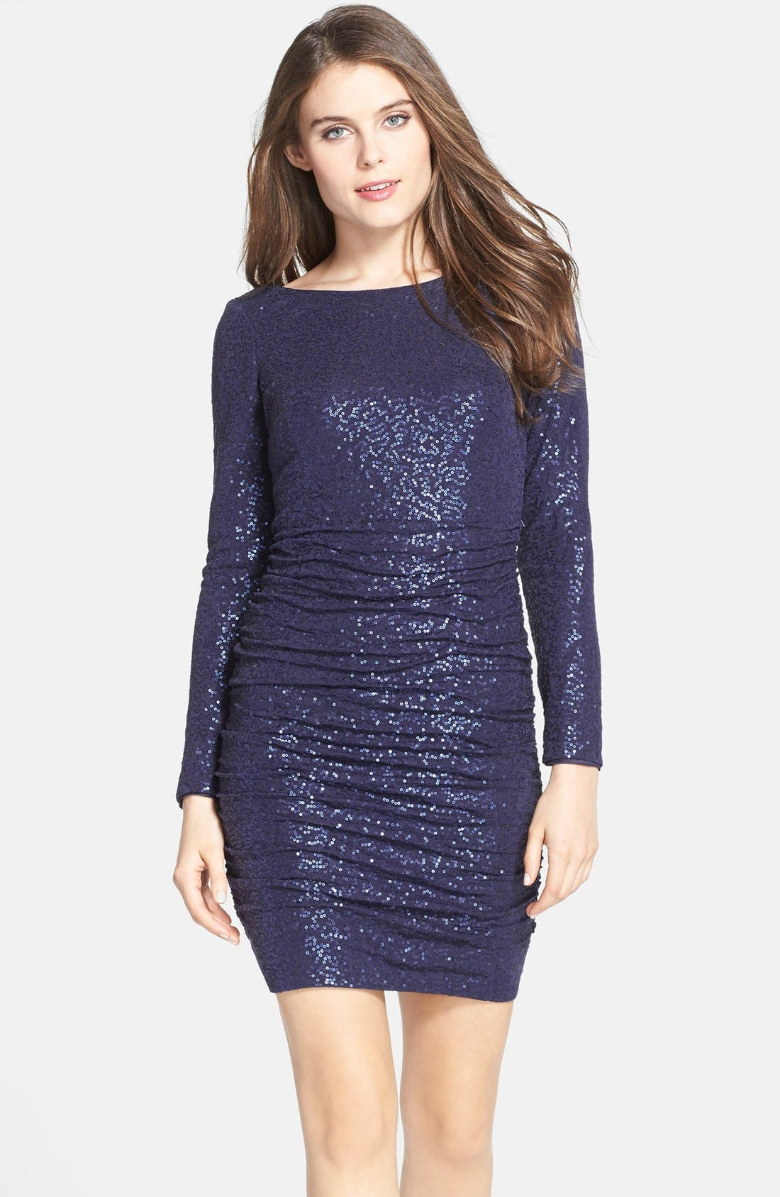 Main Image - Aidan by Aidan Mattox Ruched Sequin Knit Dress