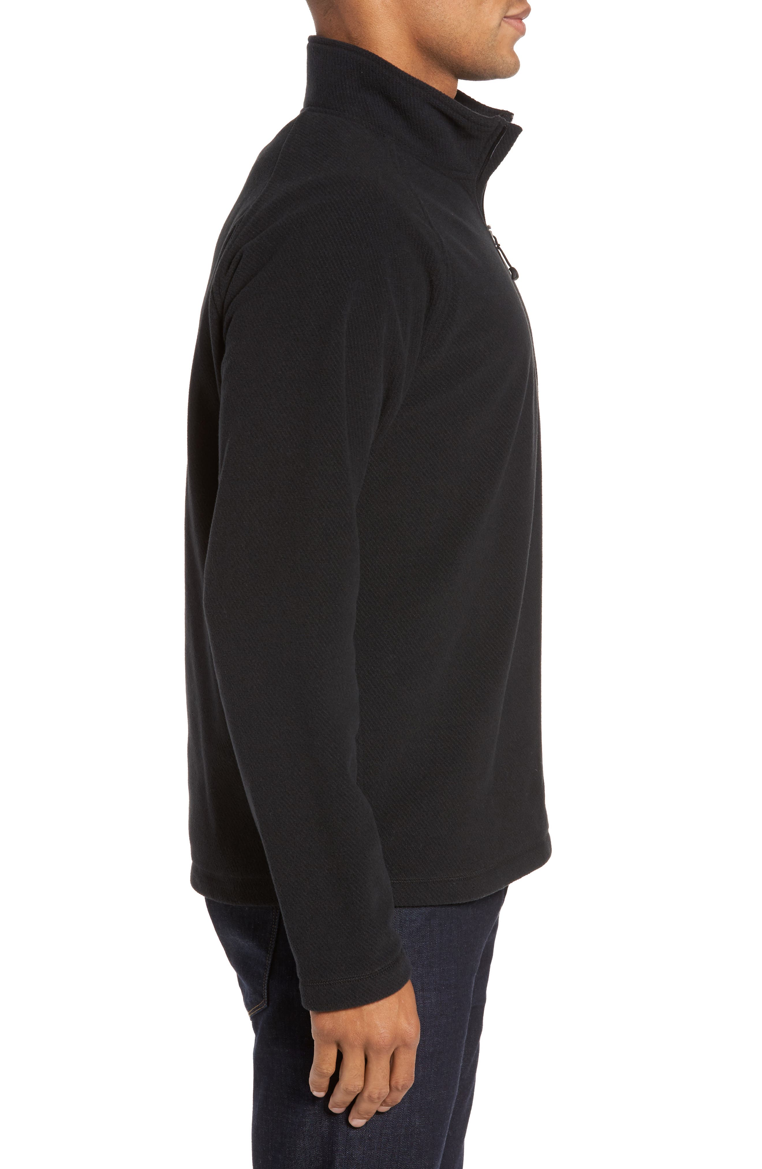 Quarter Zip Fleece Pullover,                             Alternate thumbnail 3, color,                             Black Caviar