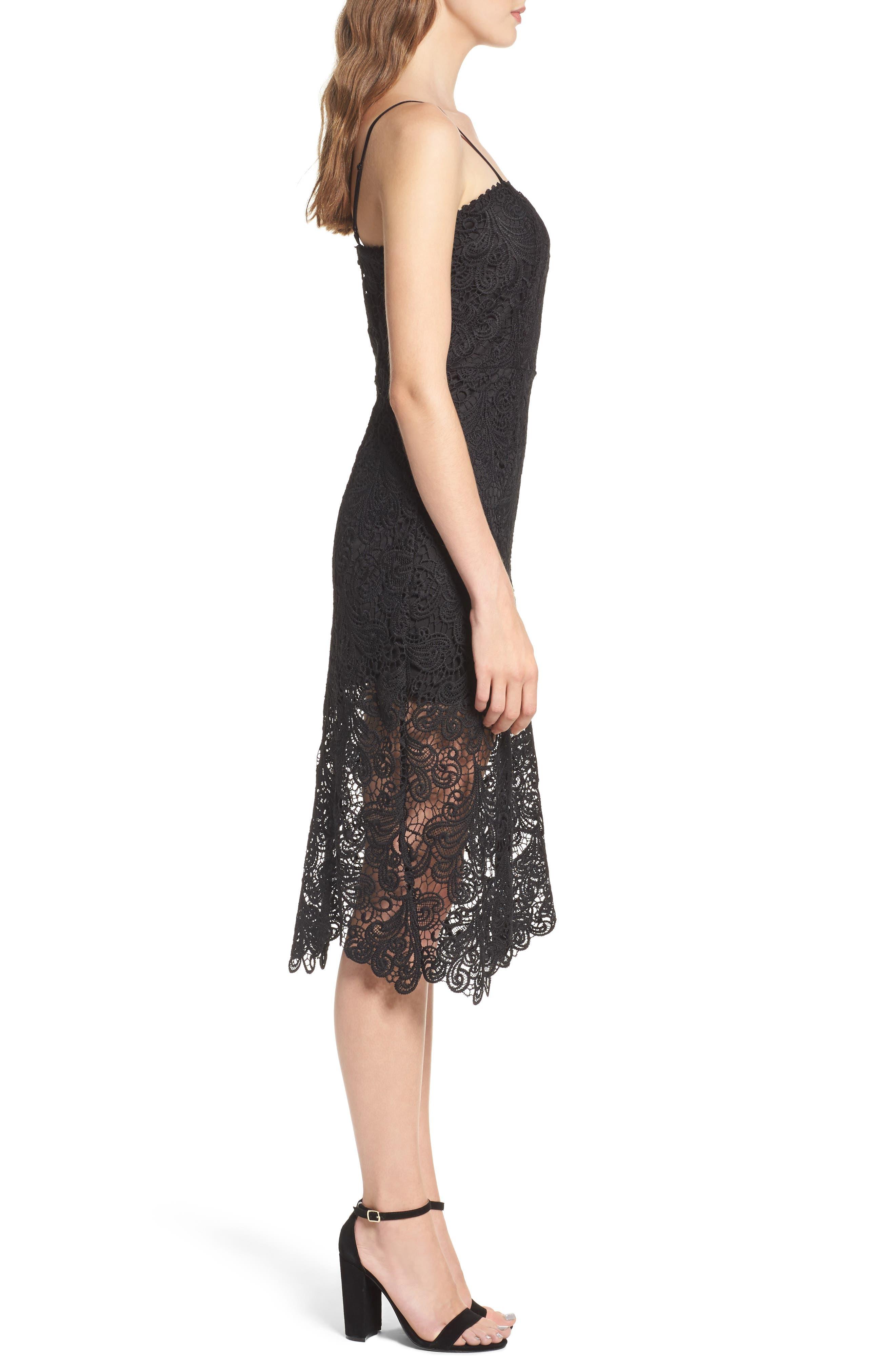 Lace Midi Dress,                             Alternate thumbnail 3, color,                             Black
