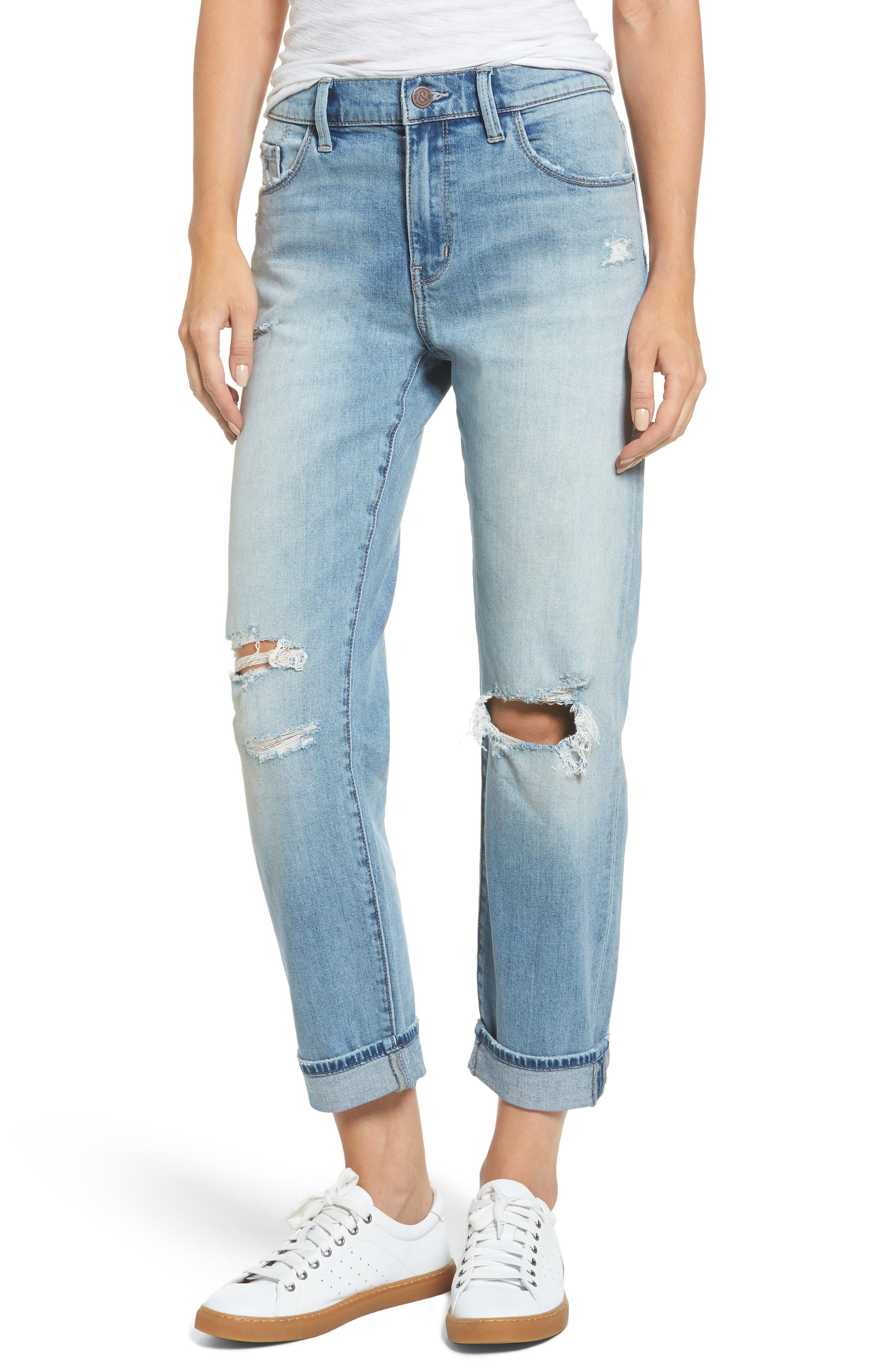 Main Image - Treasure & Bond Ripped Relaxed Fit Jeans (Gravel Light Destroy)