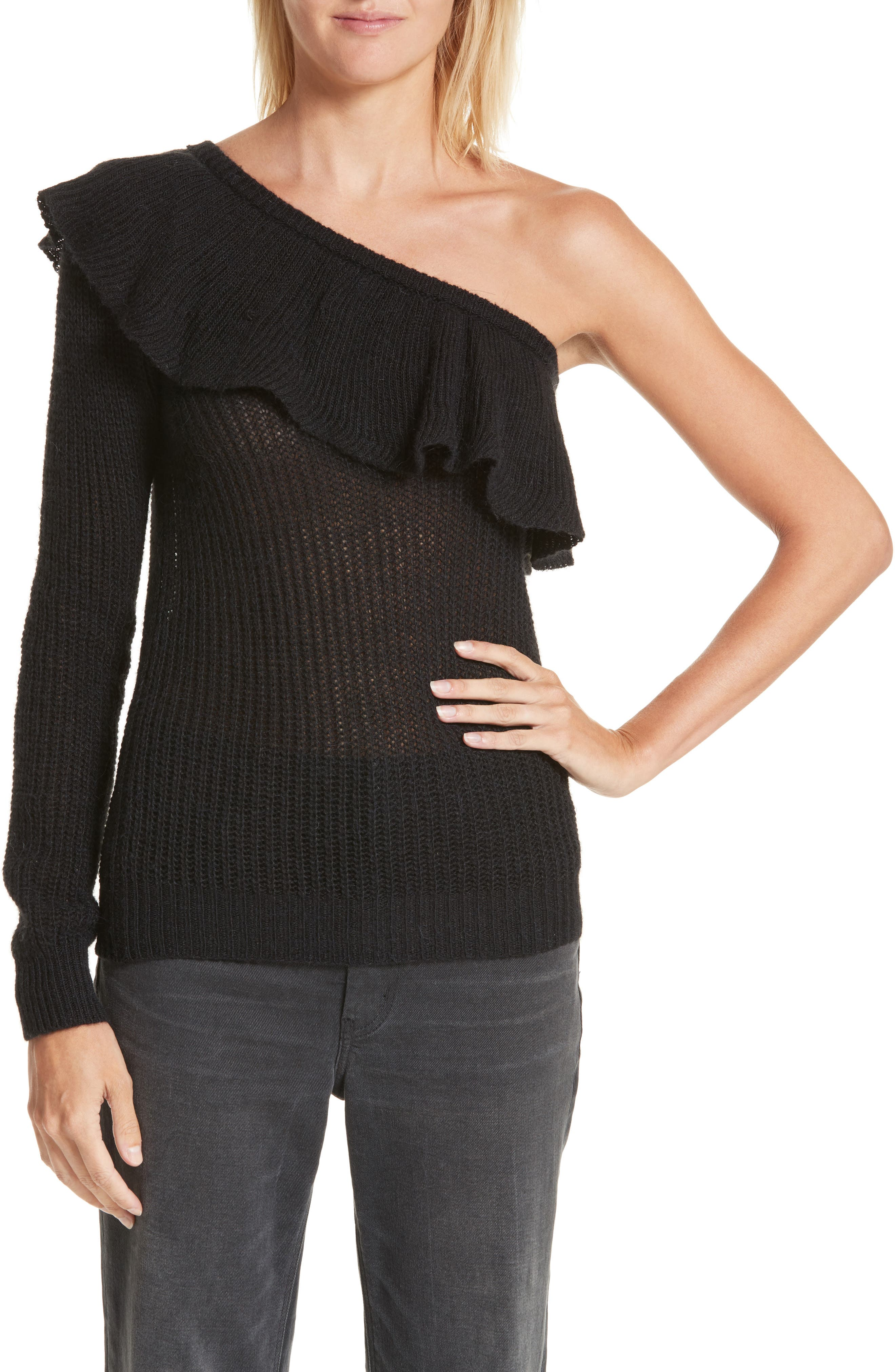 One-Shoulder Ruffle Sweater,                         Main,                         color, Black