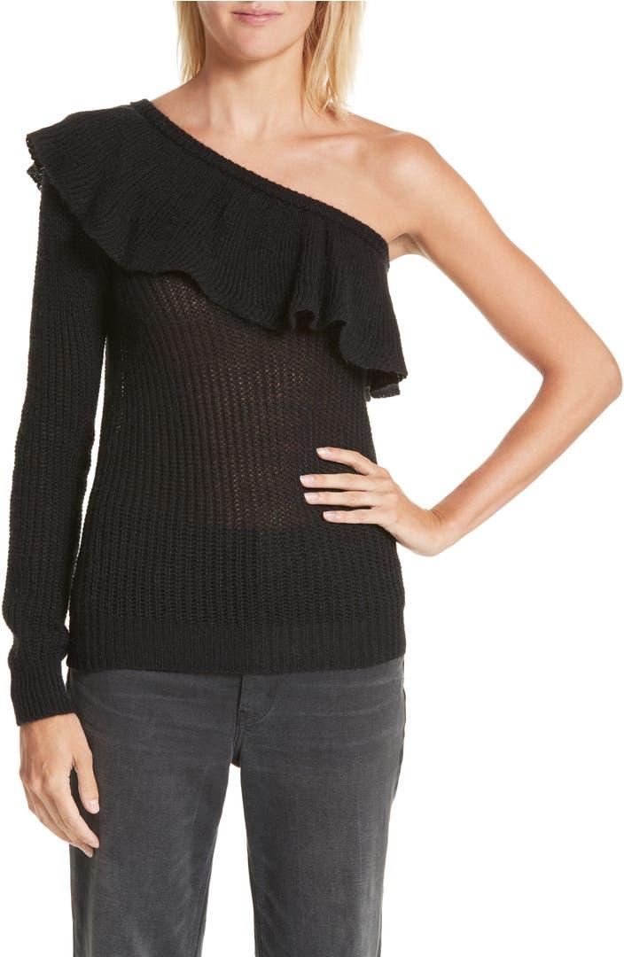 rebecca taylor one shoulder ruffle sweater nordstrom. Black Bedroom Furniture Sets. Home Design Ideas