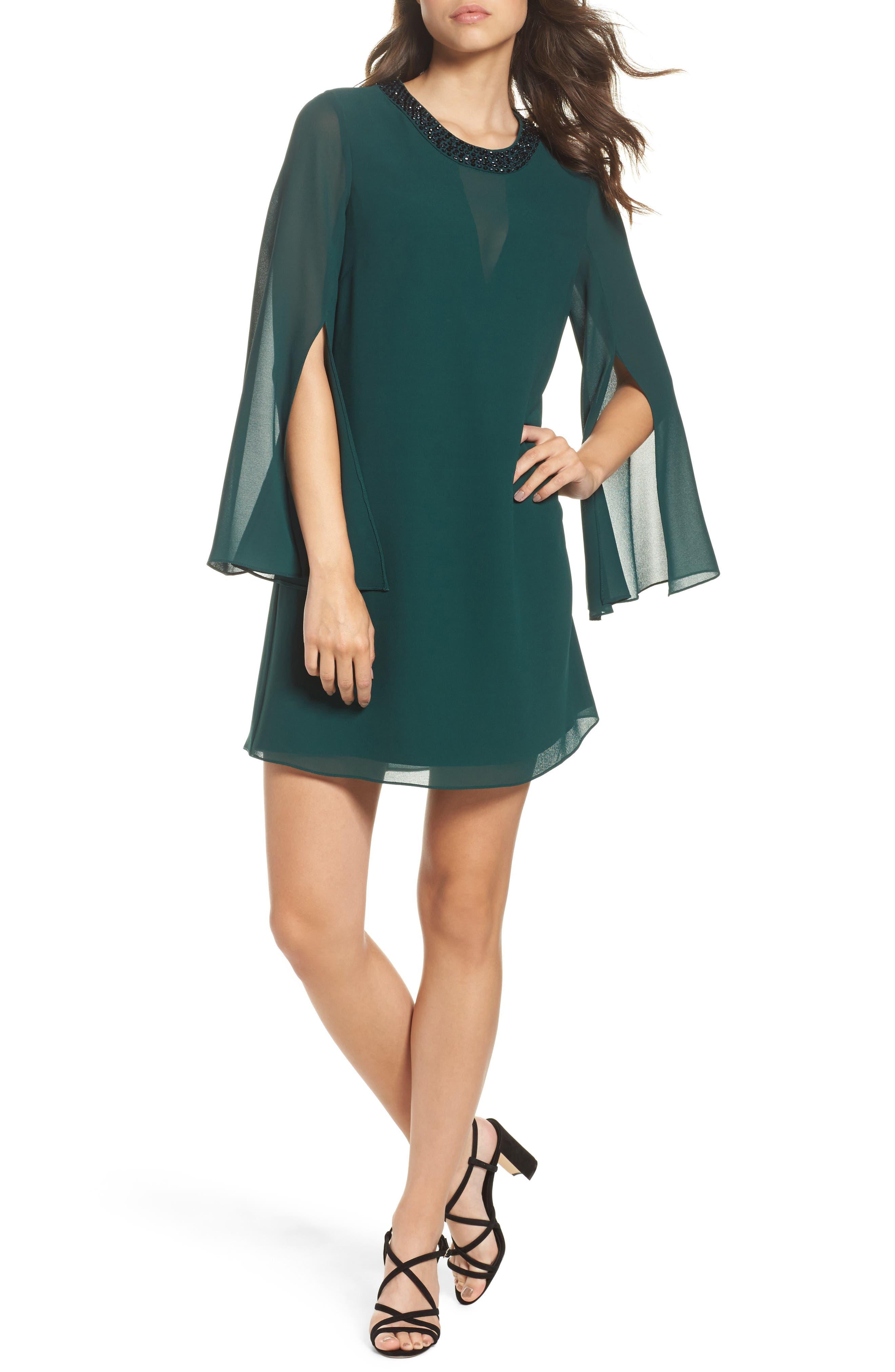 Embellished Chiffon Shift Dress,                             Main thumbnail 1, color,                             Hunter