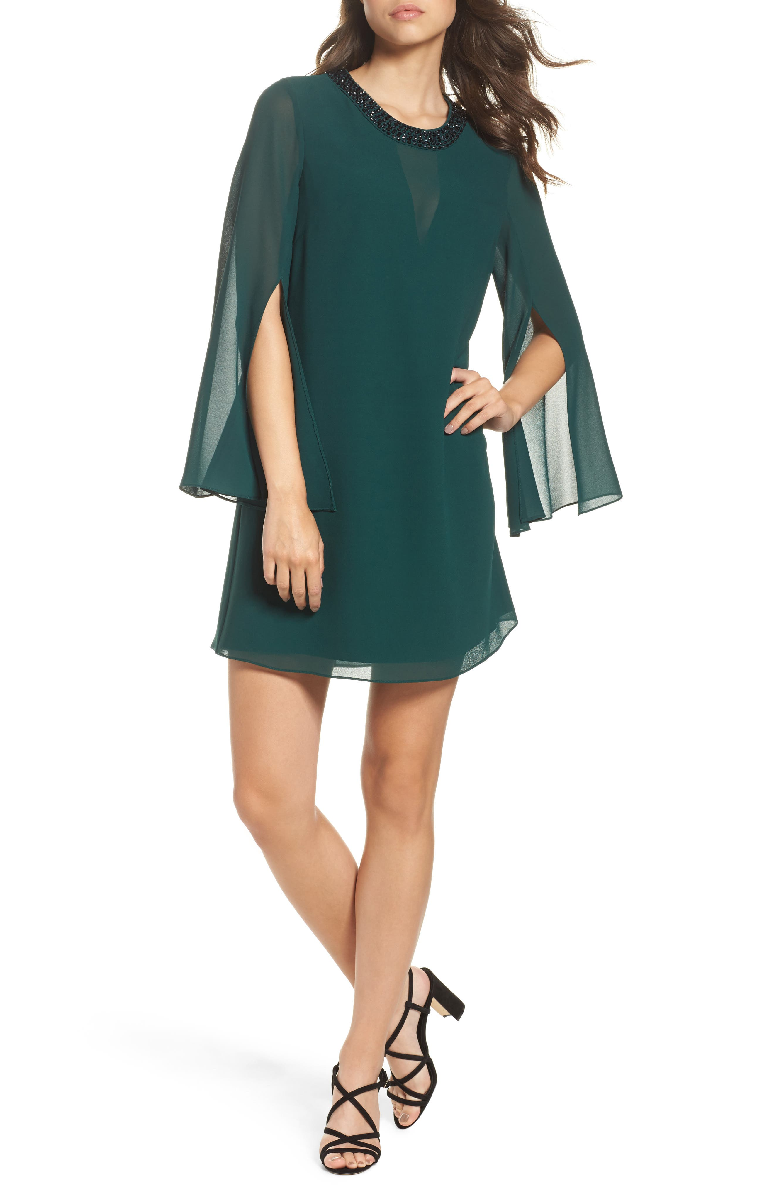 Embellished Chiffon Shift Dress,                         Main,                         color, Hunter