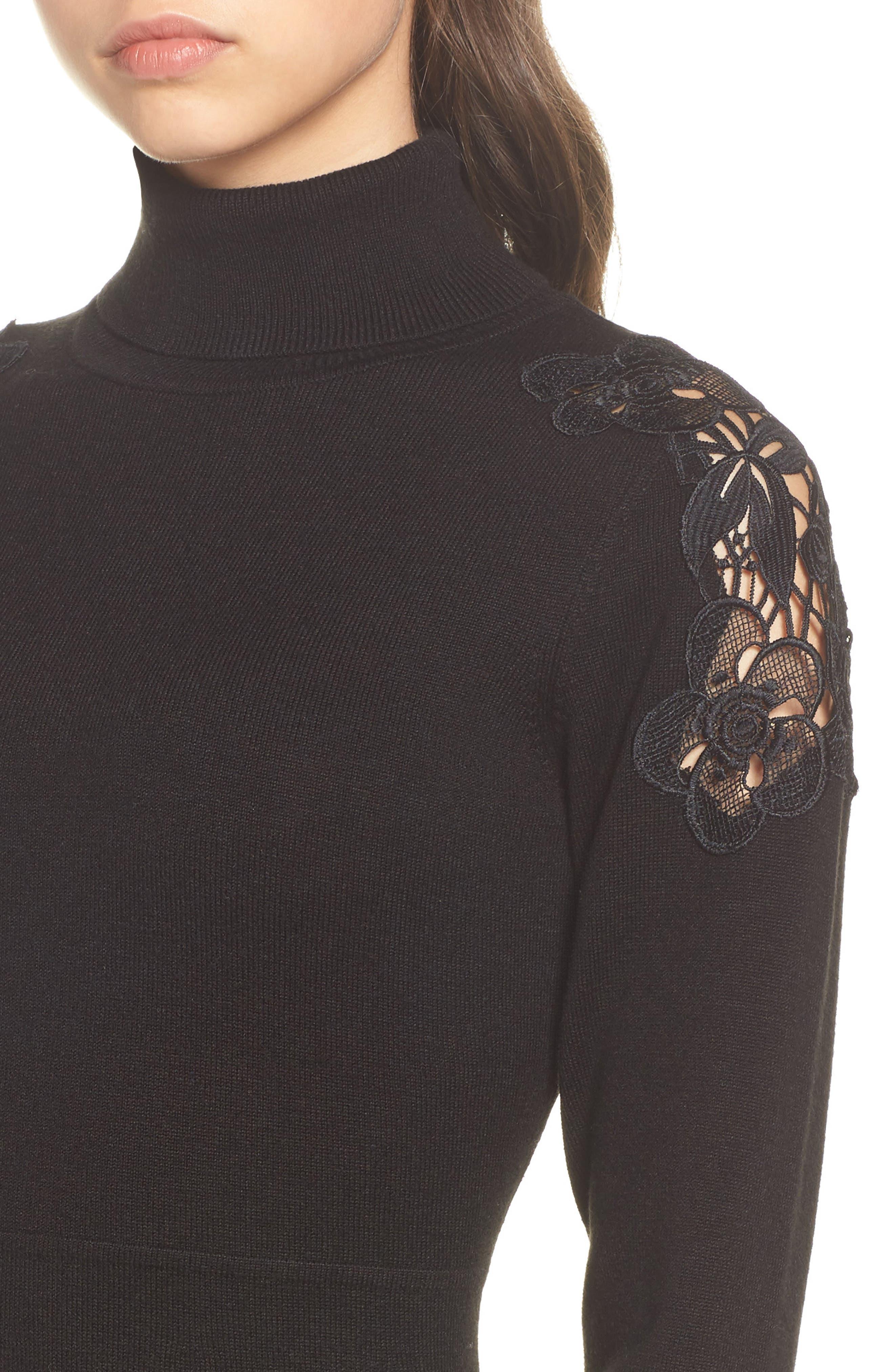 Alternate Image 4  - Eliza J Lace Shoulder Turtleneck Sweater Dress
